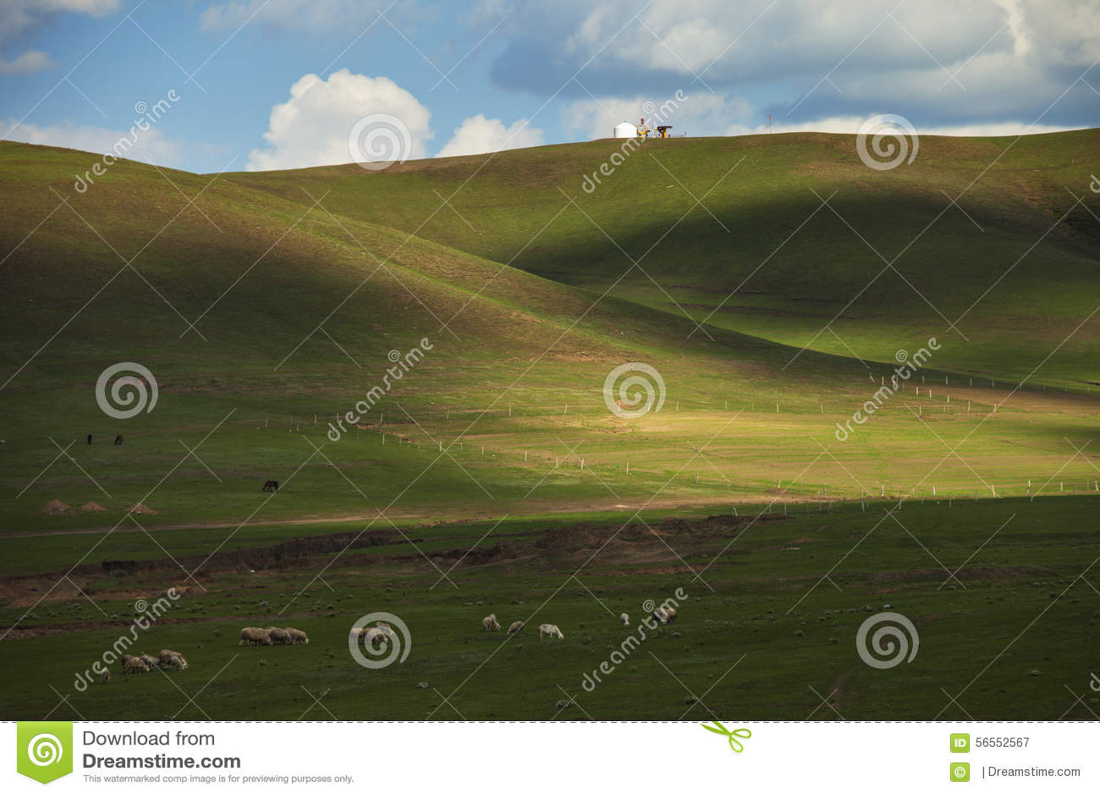 Download λιβάδια στοκ εικόνα. εικόνα από yurt, μονοπάτι, ουρανός - 56552567