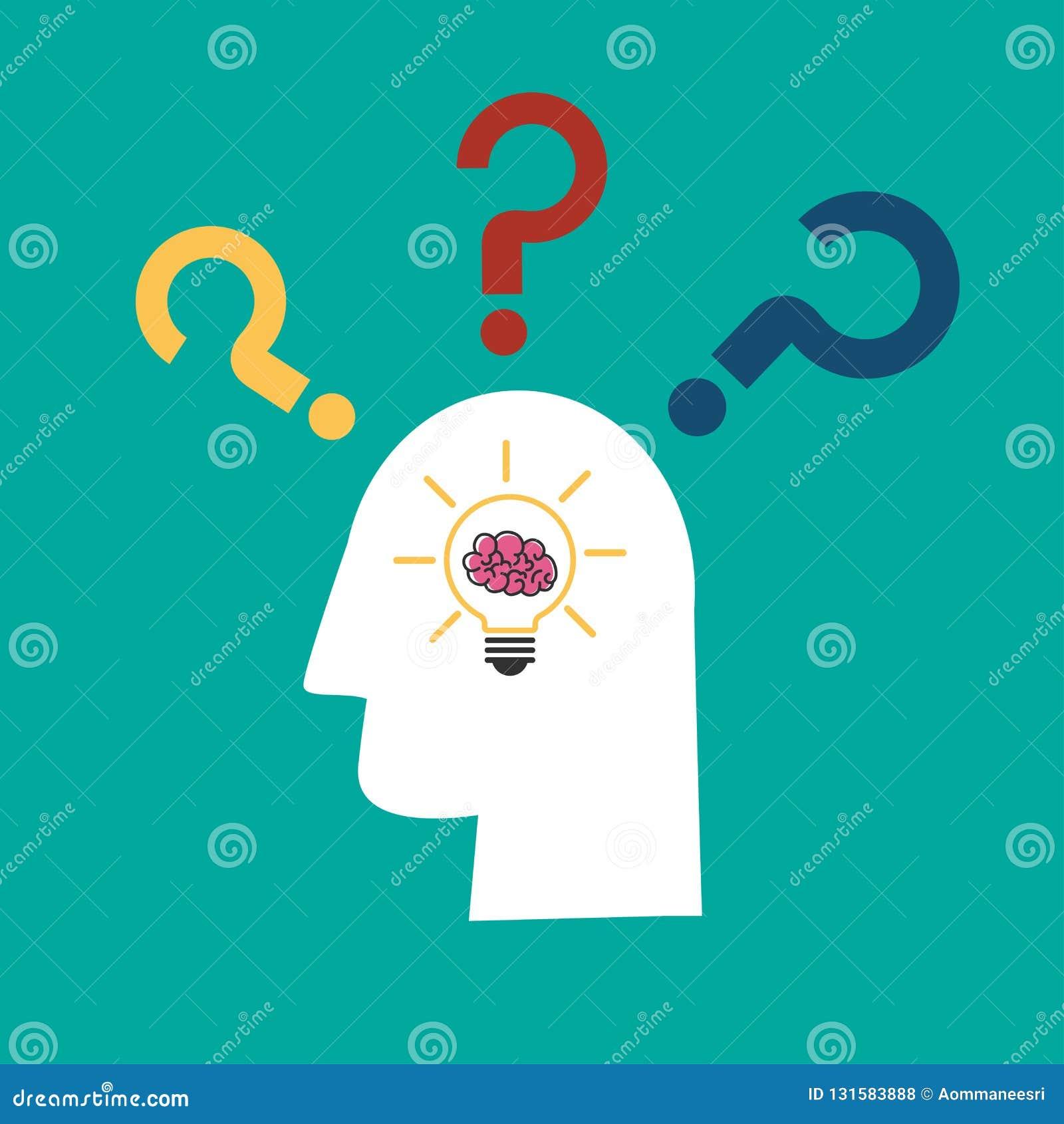 Ιδέα λαμπών φωτός με τον εγκέφαλο στο ανθρώπινο εικονίδιο κεφαλιών και ερωτηματικών