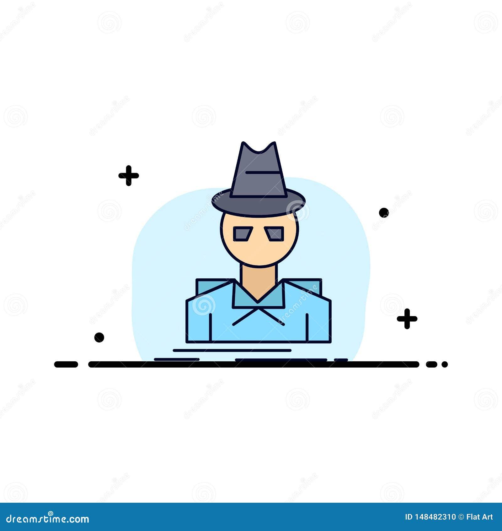 Ιδιωτικός αστυνομικός, χάκερ, ινκόγκνιτο, κατάσκοπος, επίπεδο διάνυσμα εικονιδίων χρώματος κλεφτών