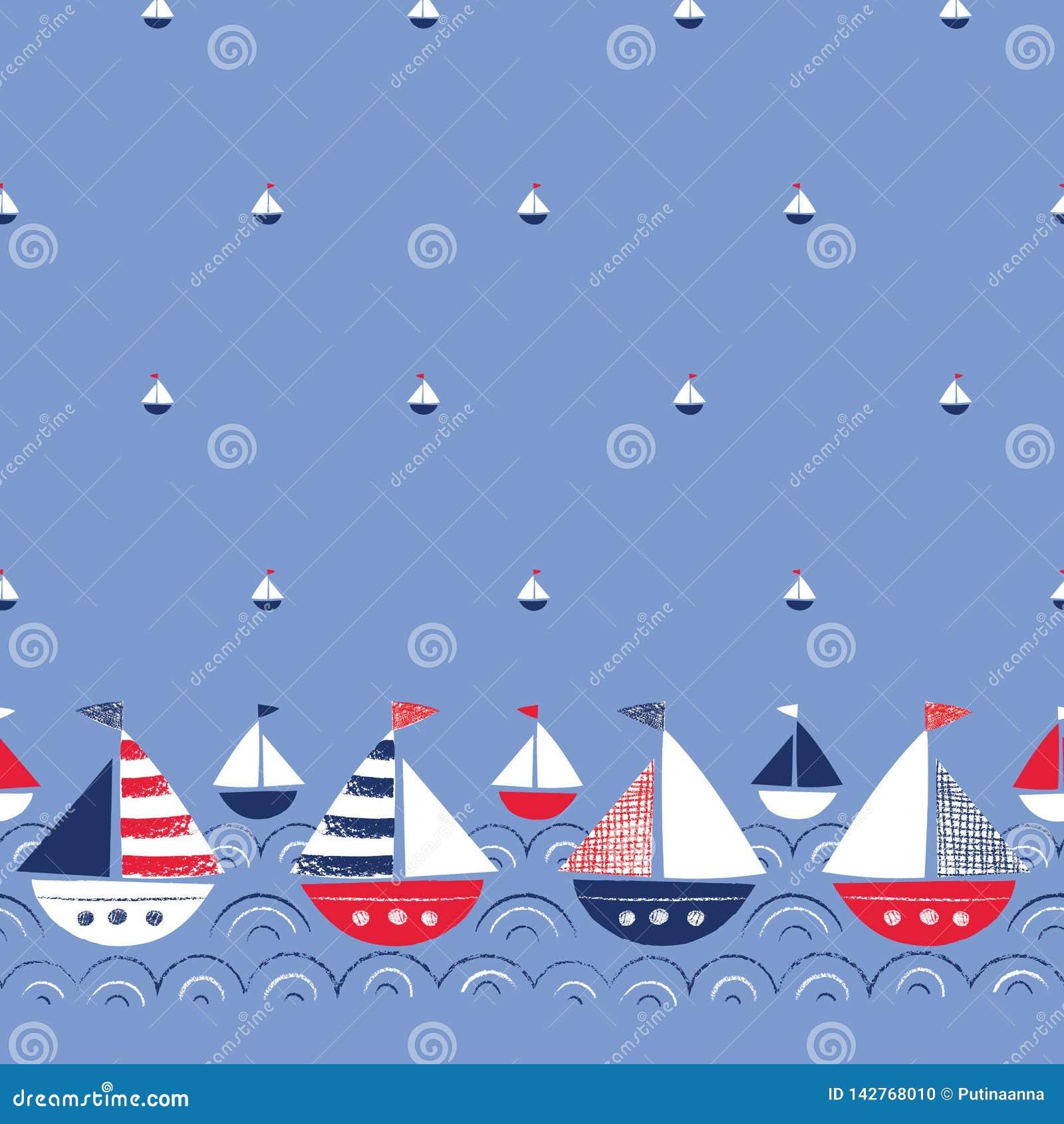 Ιδιότροπος Hand-Drawn με τα σκάφη κραγιονιών στα διανυσματικά άνευ ραφής σύνορα και το σχέδιο θάλασσας Χαριτωμένο ναυτικό θαλάσσι