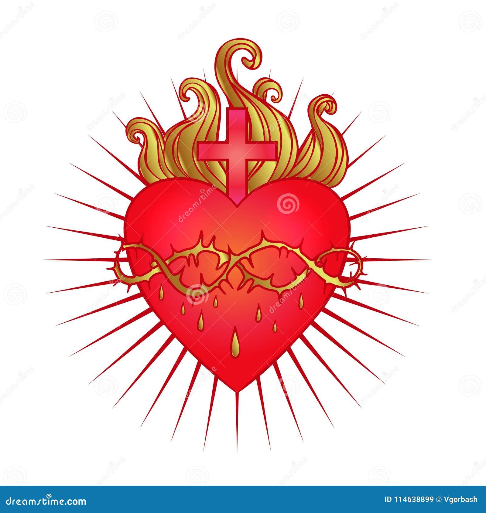 Ιερή καρδιά του Ιησού με τις ακτίνες Διανυσματική απεικόνιση στο κόκκινο και
