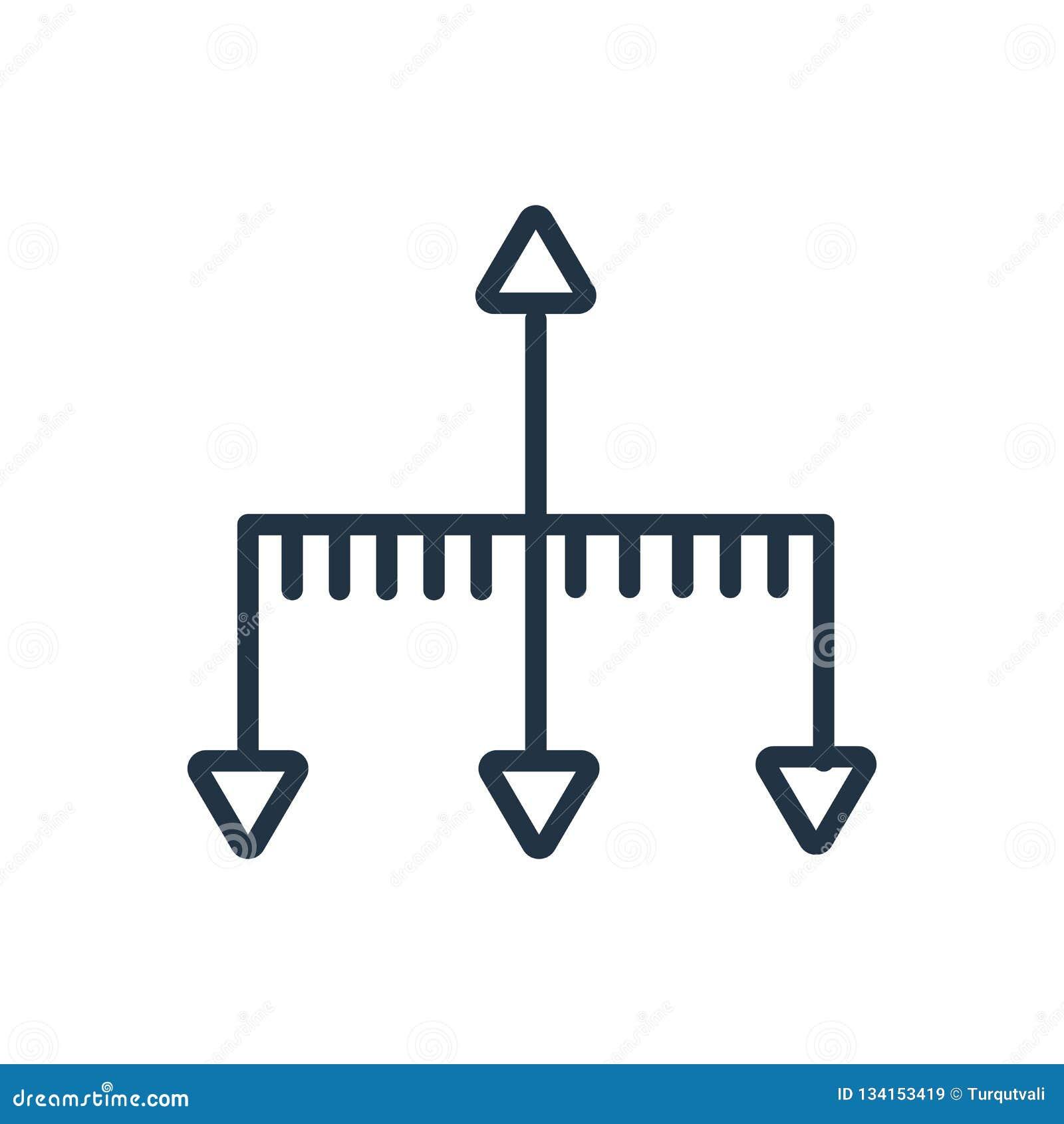 Ιεραρχικό διάνυσμα εικονιδίων δομών που απομονώνεται στο άσπρο υπόβαθρο, ιεραρχικό σημάδι δομών