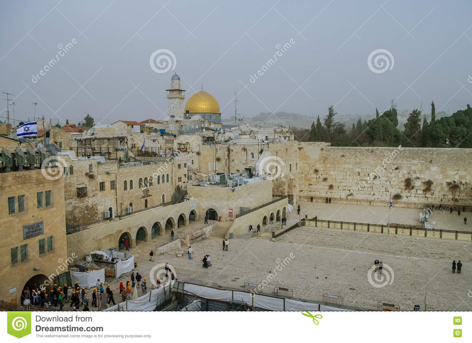 Ιερουσαλήμ, Ισραήλ - 11 Δεκεμβρίου 2010: Δυτικοί τοίχος και θόλος του τ