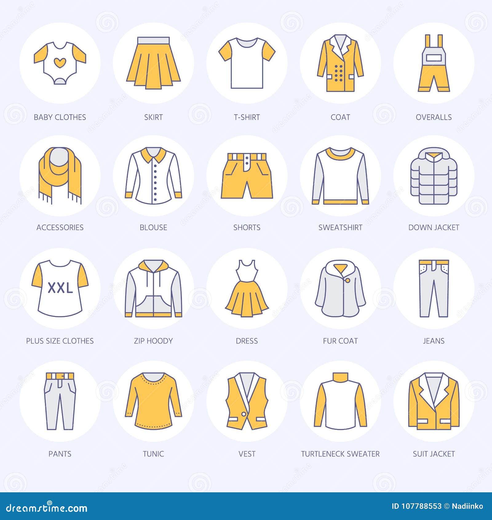 Ιματισμός, επίπεδα εικονίδια γραμμών fasion Ανδρών, ενδυμασία των γυναικών - ντύστε, κάτω από το σακάκι, τα τζιν, εσώρουχο, μπλού