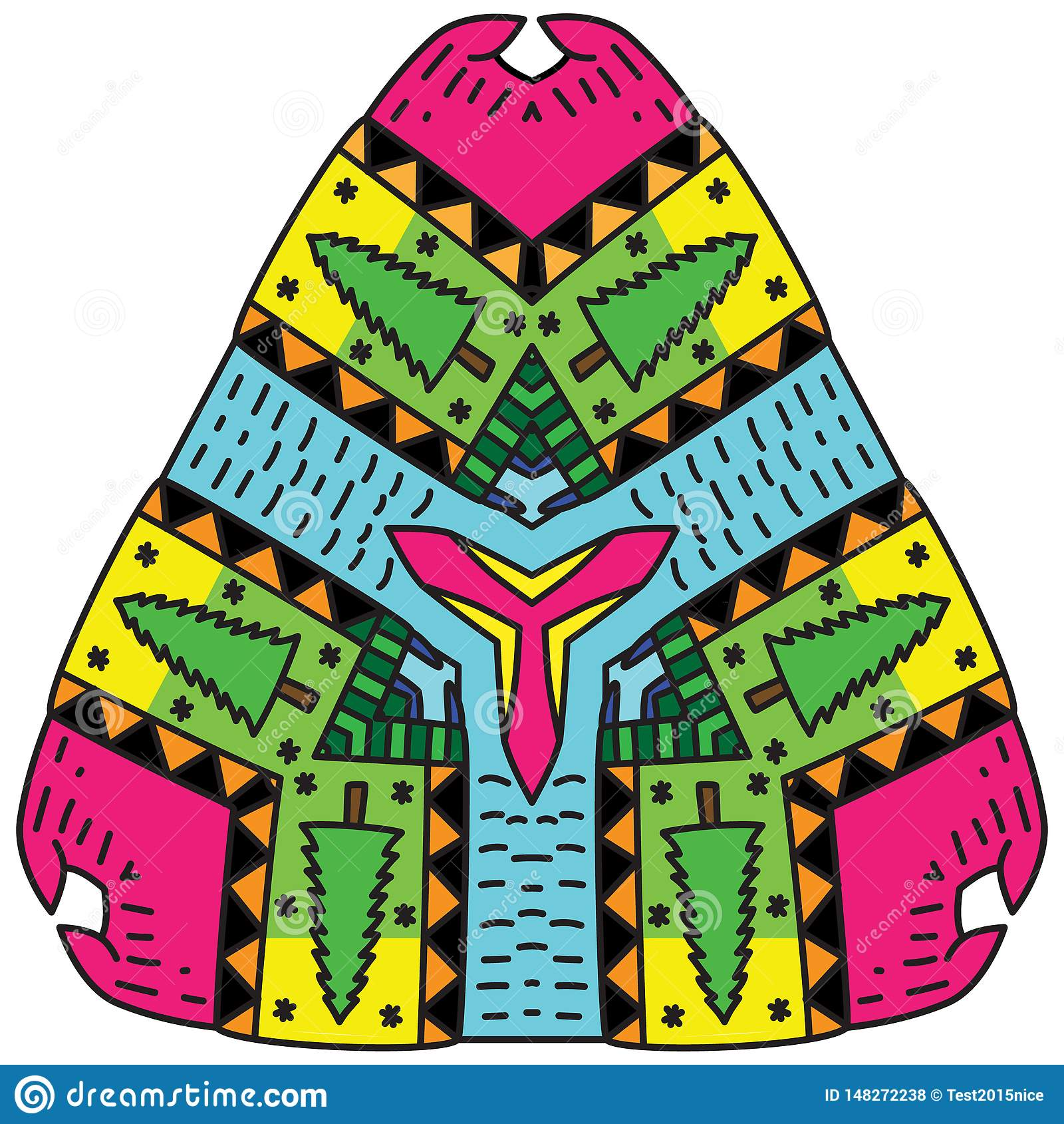 Ινδική διακόσμηση και διακοσμητικό διαμορφωμένο mandala χρωματισμού