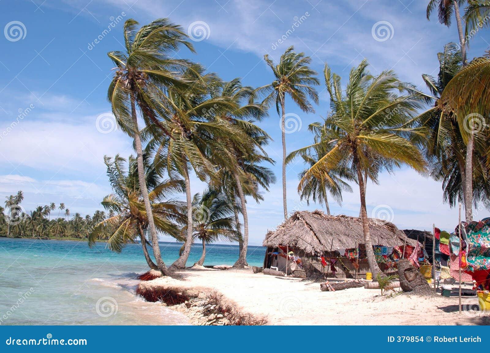 ινδικό kuna Παναμάς νησιών σπιτιών