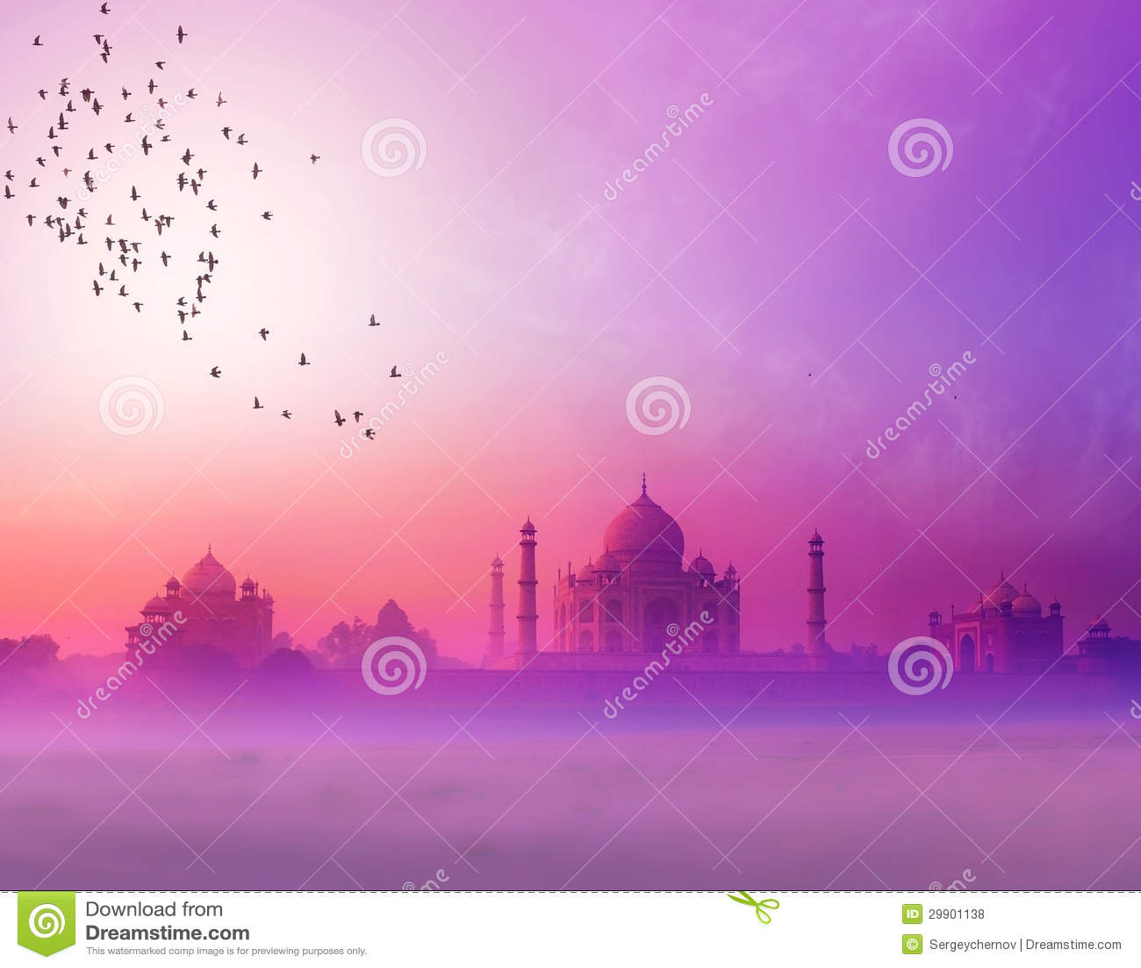 Ινδία. Σκιαγραφία ηλιοβασιλέματος Mahal Taj