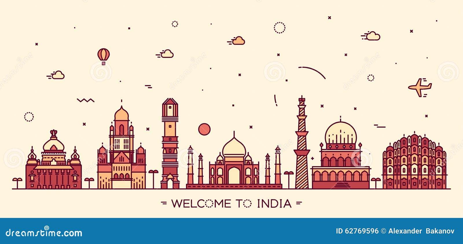 Ινδικό γραμμικό ύφος απεικόνισης οριζόντων διανυσματικό