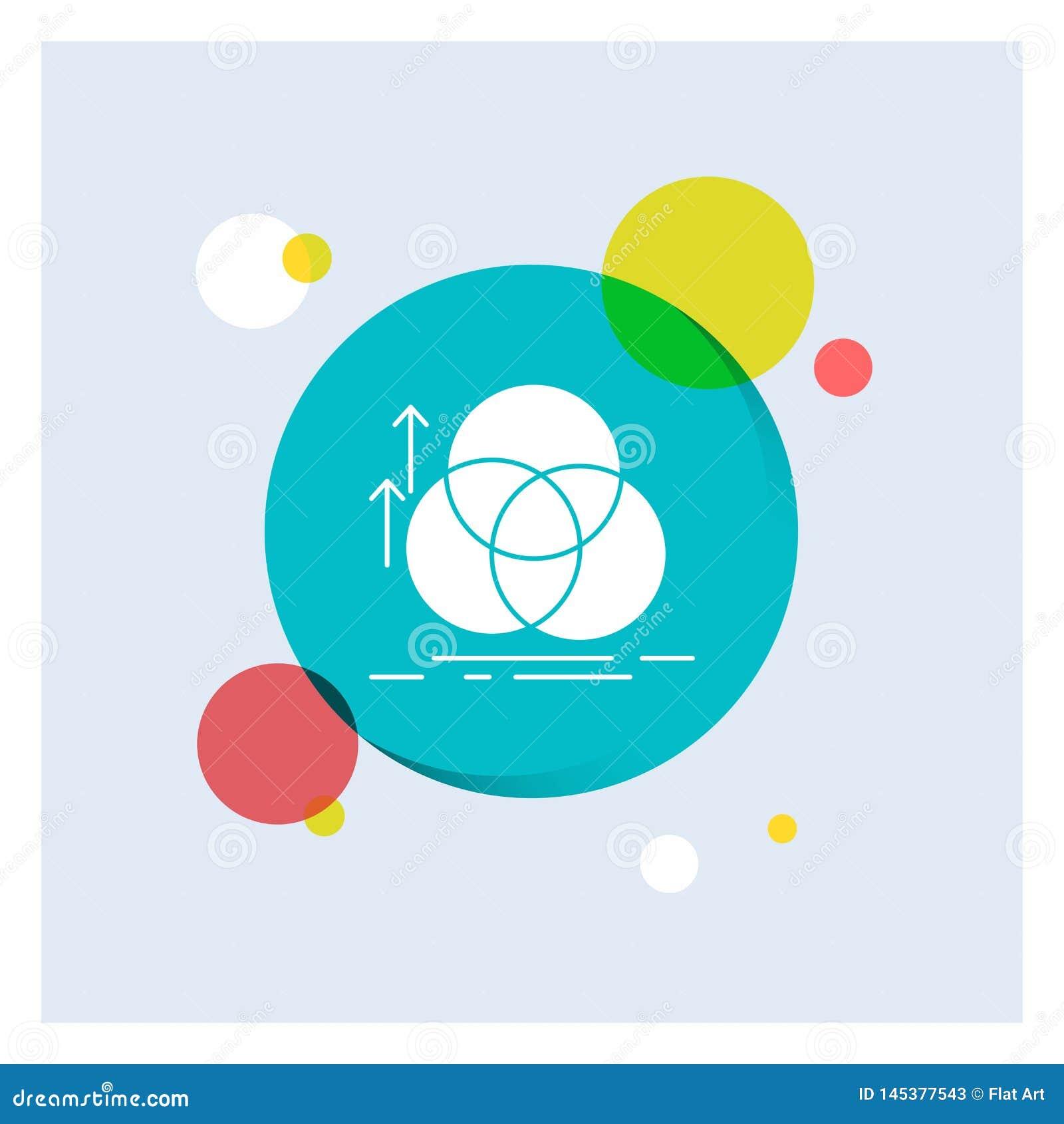 ισορροπία, κύκλος, ευθυγράμμιση, μέτρηση, γεωμετρίας άσπρο Glyph υπόβαθρο κύκλων εικονιδίων ζωηρόχρωμο