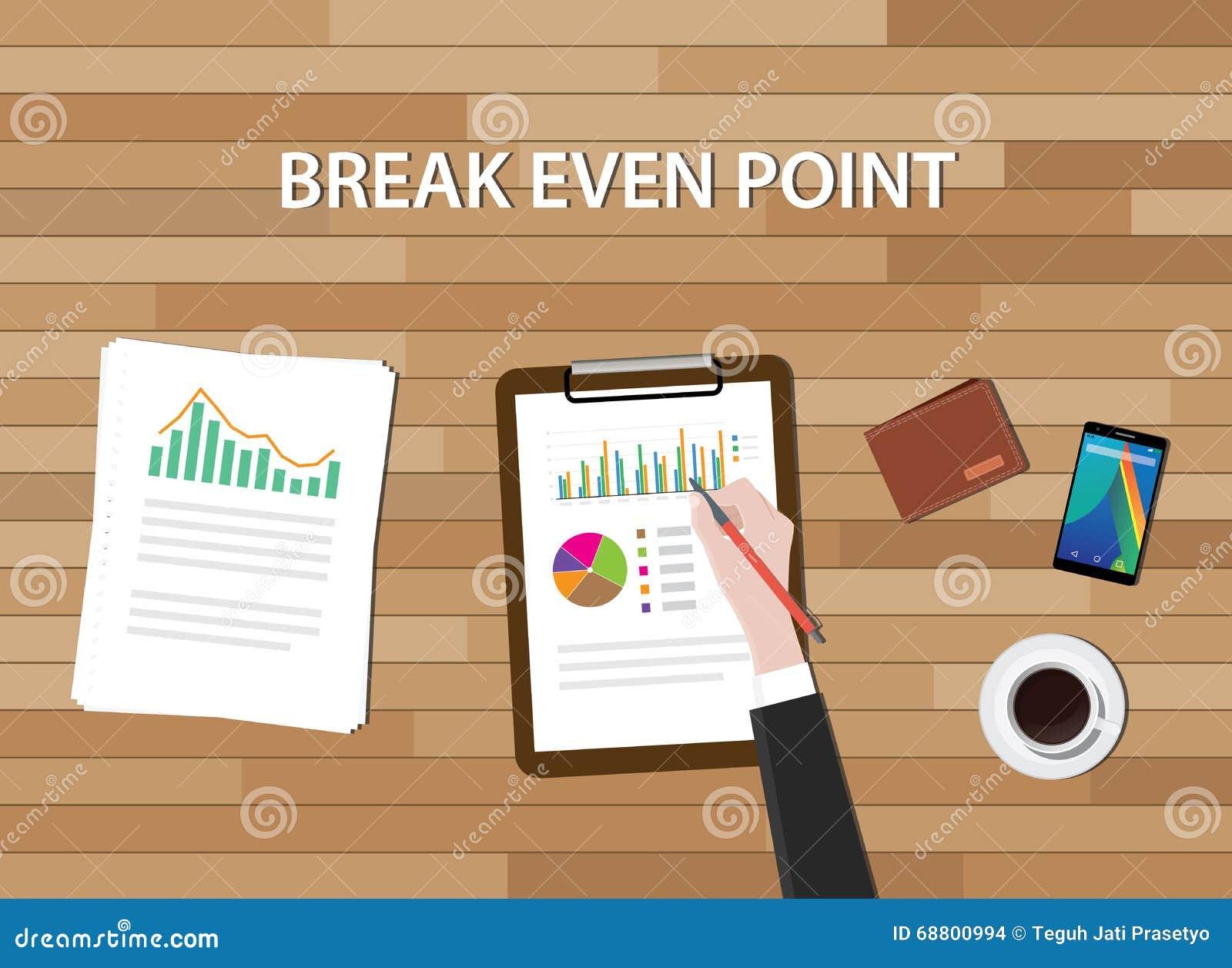 Ισορροπημένου προϋπολογισμού διάγραμμα γραφικών παραστάσεων απεικόνισης σημείου Bep και πίνακας εργασίας