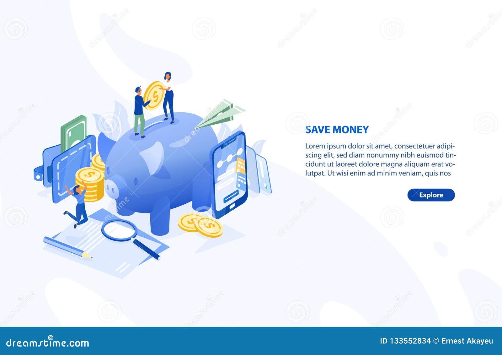 Ιστοσελίδας ή πρότυπο εμβλημάτων με το ζευγάρι των ανθρώπων που στέκονται στη γιγαντιαία piggy τράπεζα και που κρατούν το νόμισμα
