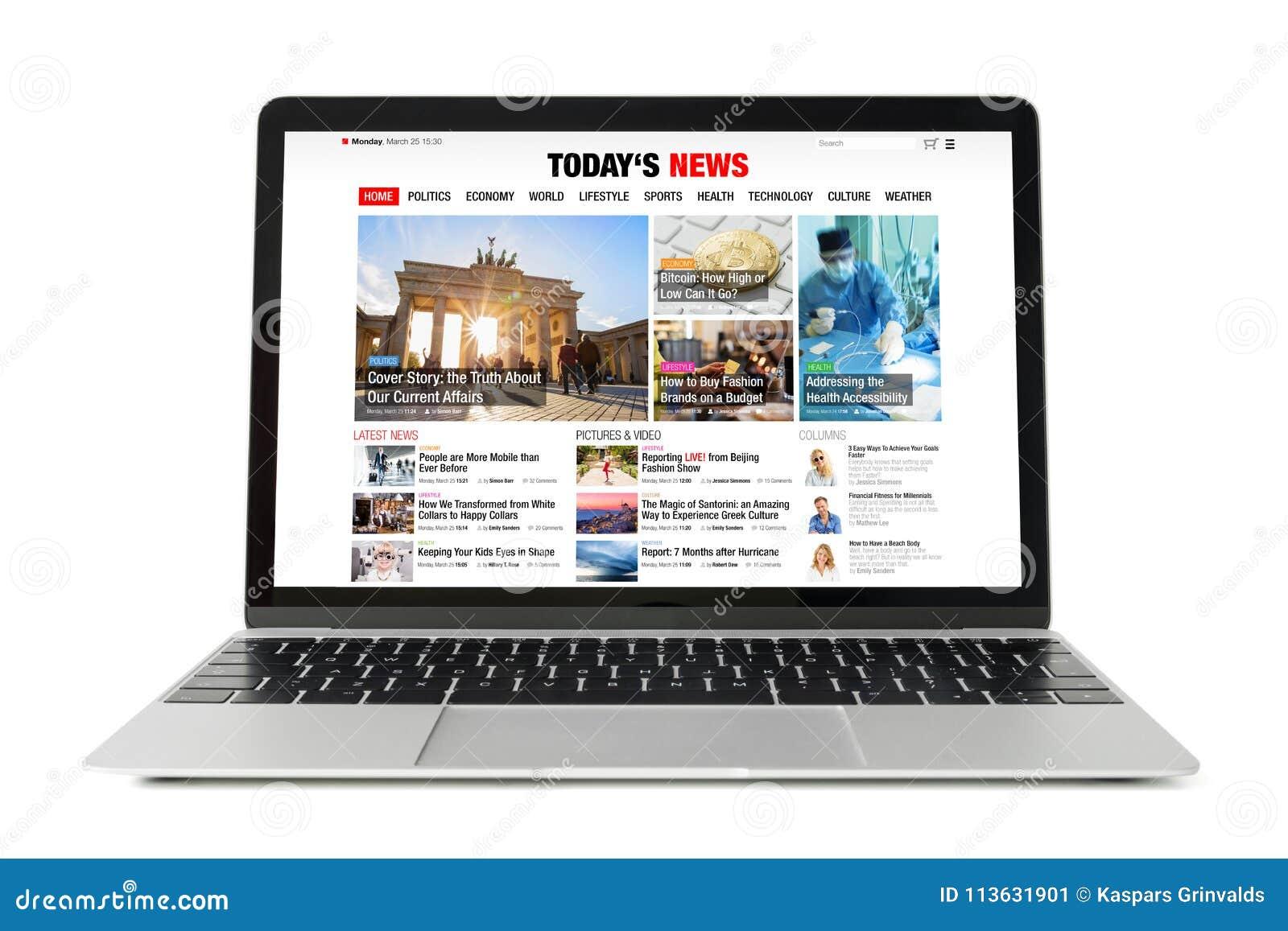Ιστοχώρος ειδήσεων στο lap-top Όλο το περιεχόμενο αποτελείται