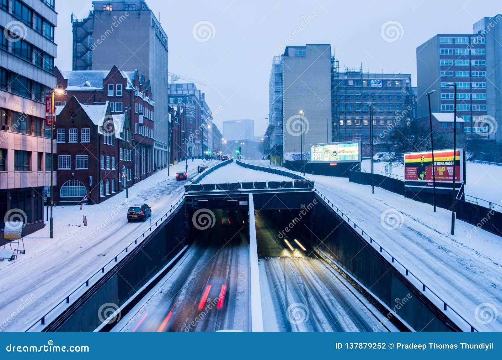 Ισχυρή χιονόπτωση στο Μπέρμιγχαμ, Ηνωμένο Βασίλειο