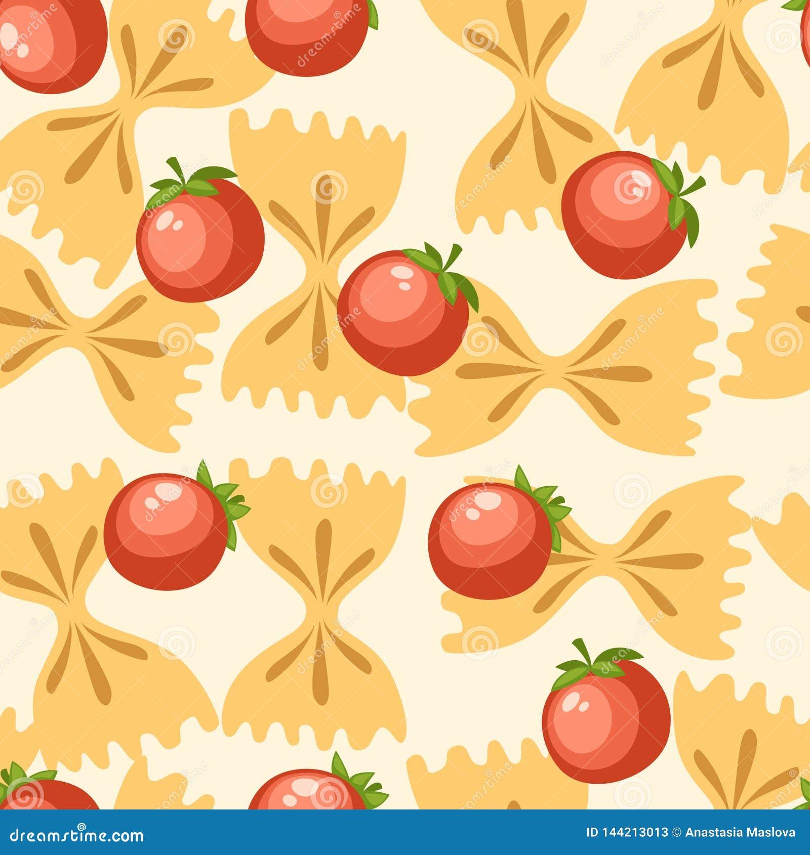 Ιταλικά ζυμαρικά τροφίμων farfalle με τις ντομάτες r Επίπεδη απεικόνιση στο άσπρο υπόβαθρο Σελίδα ιστοχώρου και
