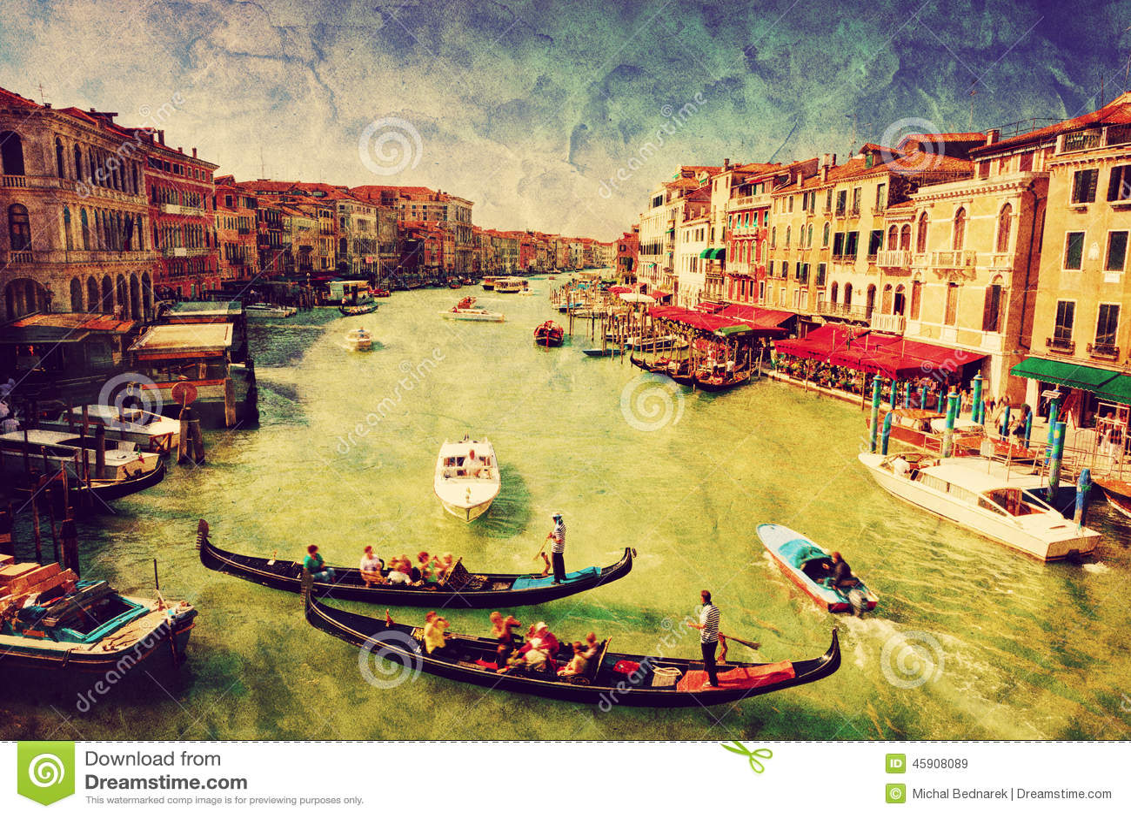 Ιταλία Βενετία μεγάλος γονδολών καναλ Εκλεκτής ποιότητας τέχνη