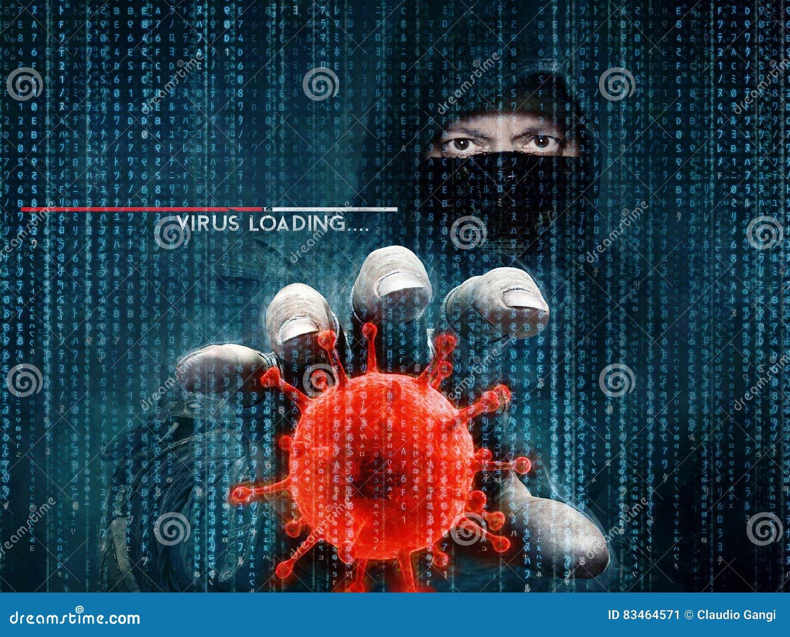 Ιός χάκερ και υπολογιστών - έννοια