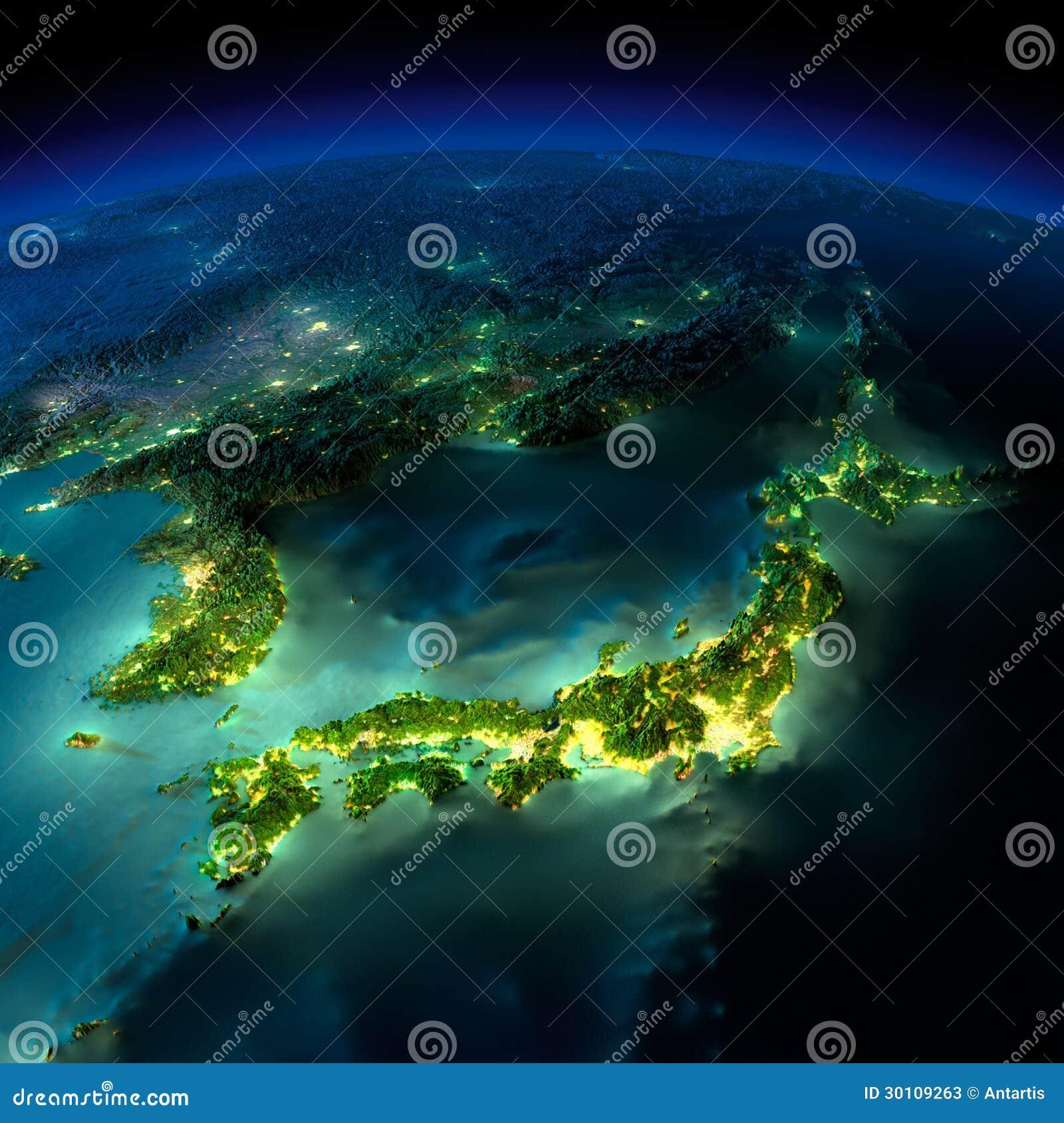 Γη νύχτας. Ένα κομμάτι της Ασίας - της Ιαπωνίας, Κορέα, Κίνα
