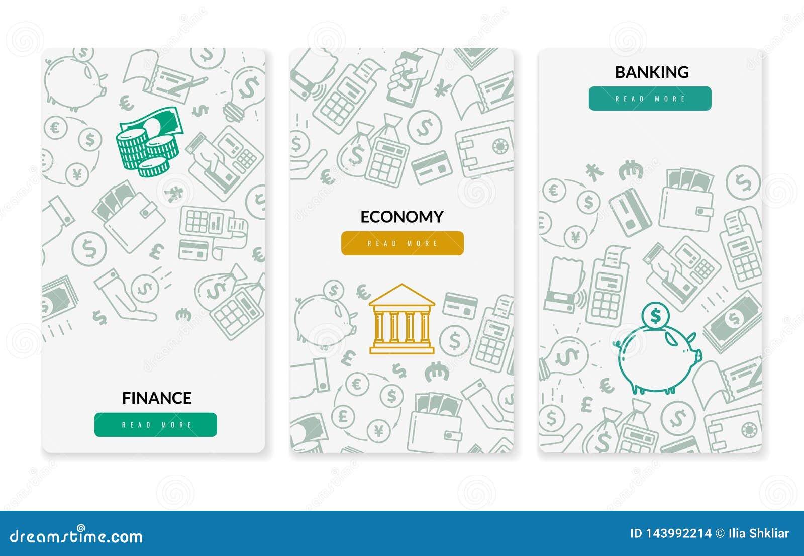 Κάθετα εμβλήματα τραπεζικών εικονιδίων χρηματοδότησης Τρία κάθετα εμβλήματα στο άσπρο υπόβαθρο