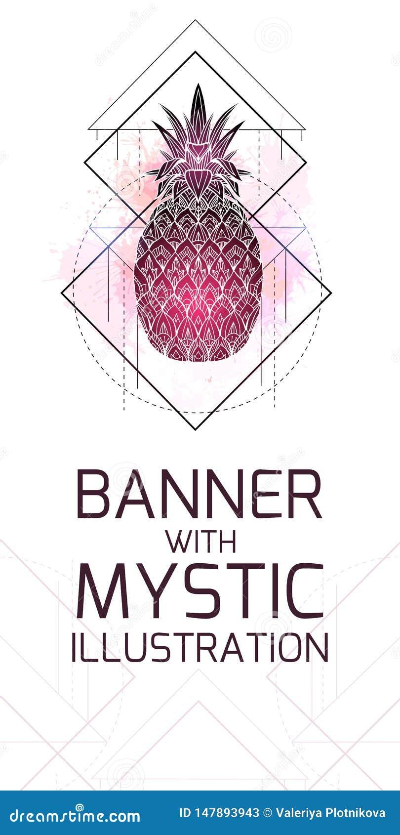 Κάθετη κάρτα με τη μυστική απεικόνιση ενός ανανά με ένα σχέδιο περιγράμματος, ρόδινοι παφλασμοί watercolor Αφίσα με μαγικό