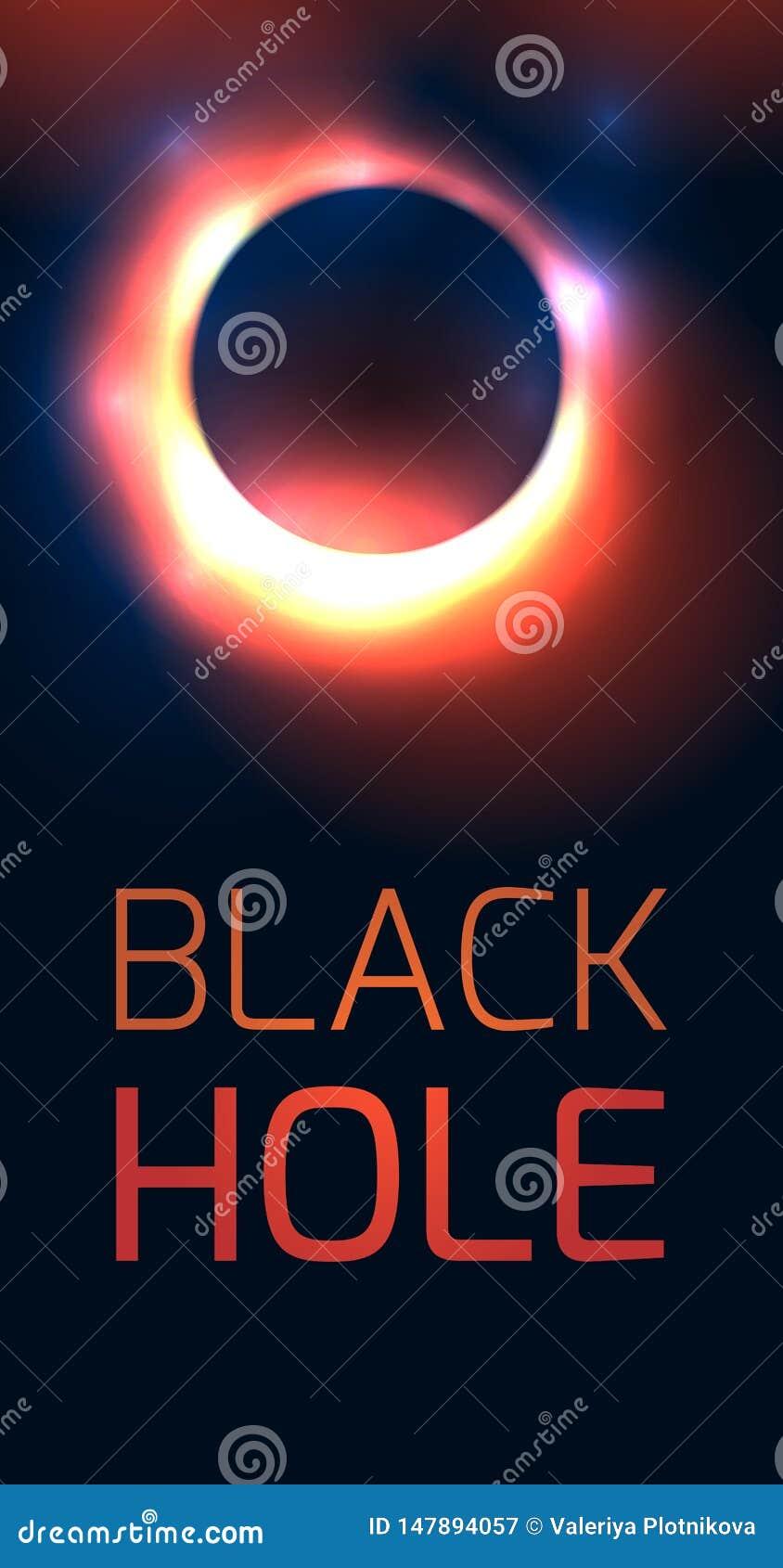 Κάθετο έμβλημα με τη μαύρη τρύπα και θέση για το κείμενο Η έκρηξη του παλαιού αστεριού Defocused γύρω από την τρύπα με τις λάμψει