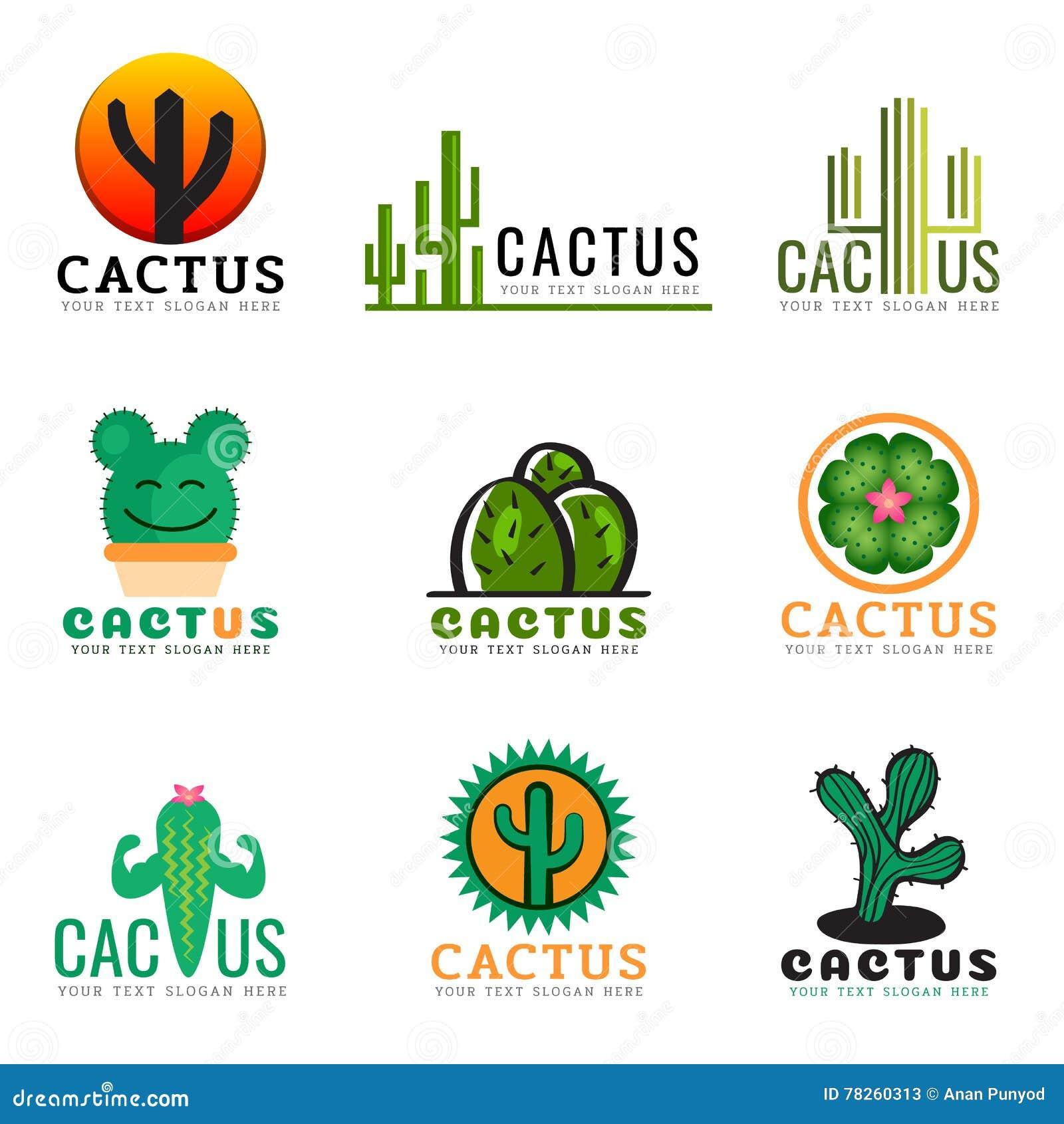 Κάκτων καθορισμένο σχέδιο απεικόνισης λογότυπων δημιουργικό διανυσματικό