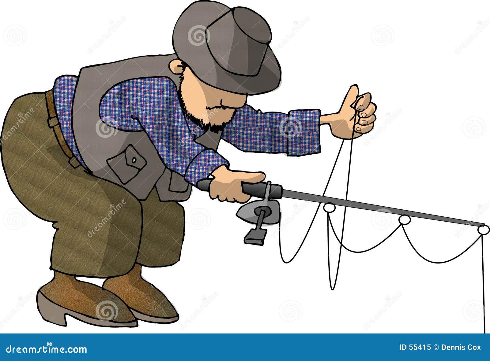 Download κάμπτοντας ψαράς απεικόνιση αποθεμάτων. εικονογραφία από πόλος - 55415
