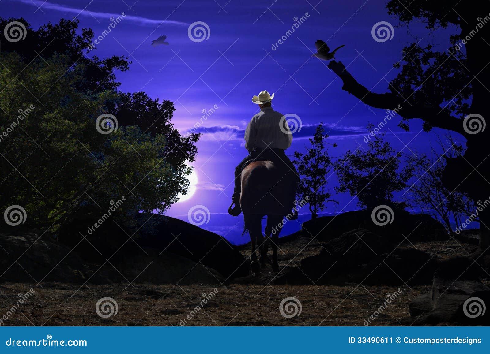 Κάουμποϋ που οδηγά σε ένα άλογο VI.