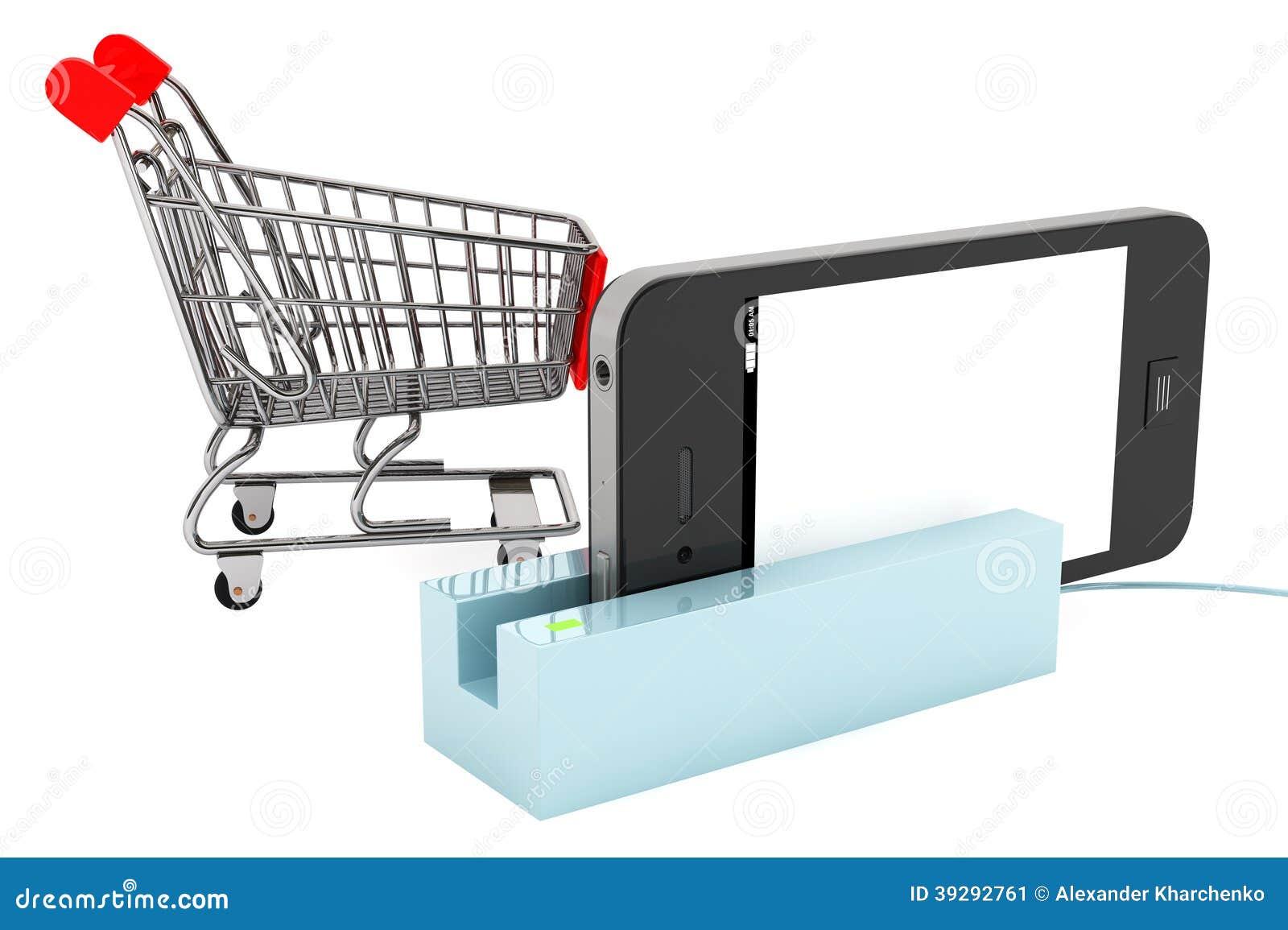 Κάρρο αγορών με το τηλέφωνο στον αναγνώστη καρτών