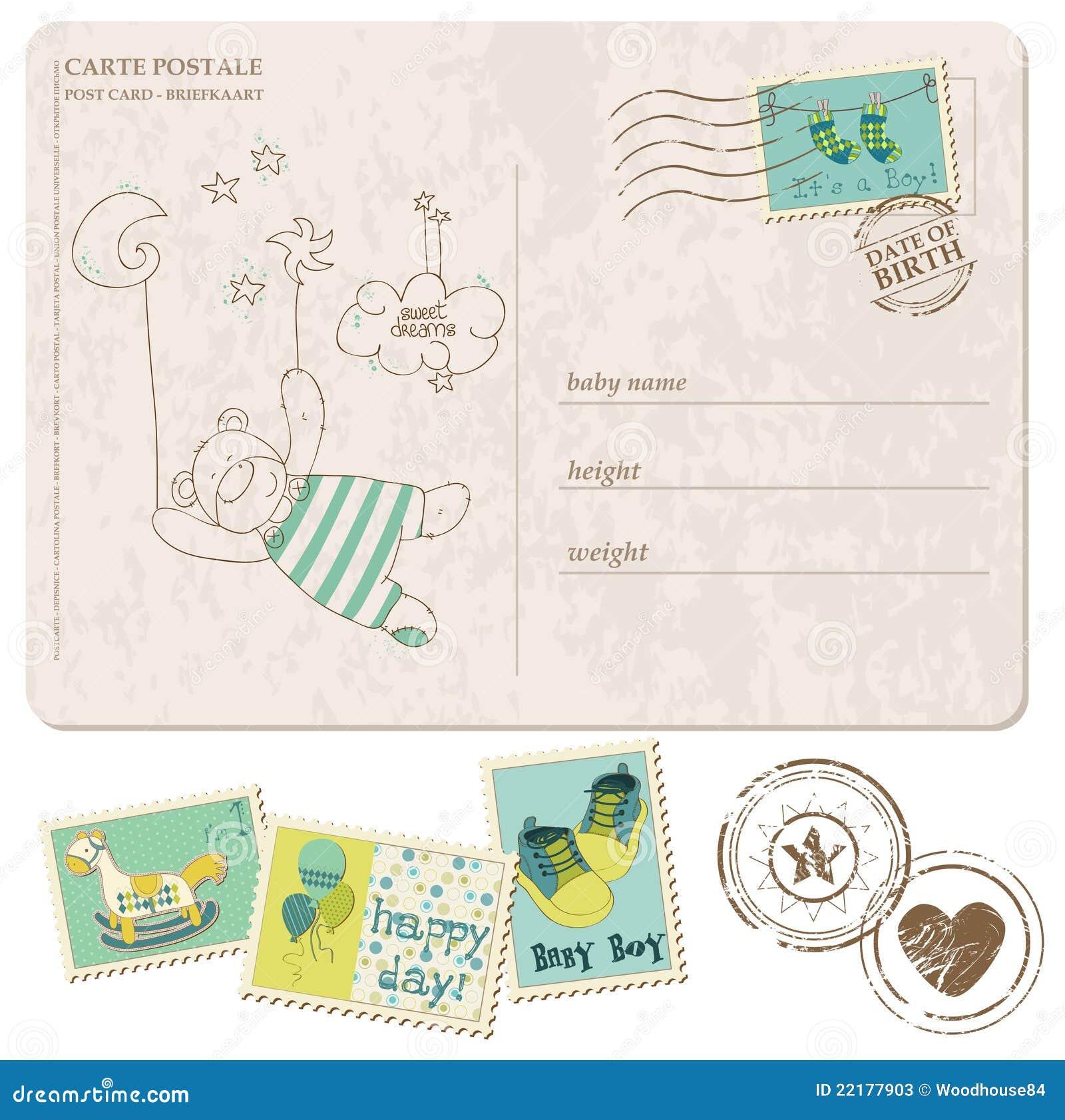 Κάρτα άφιξης αγορακιών με το σύνολο γραμματοσήμων