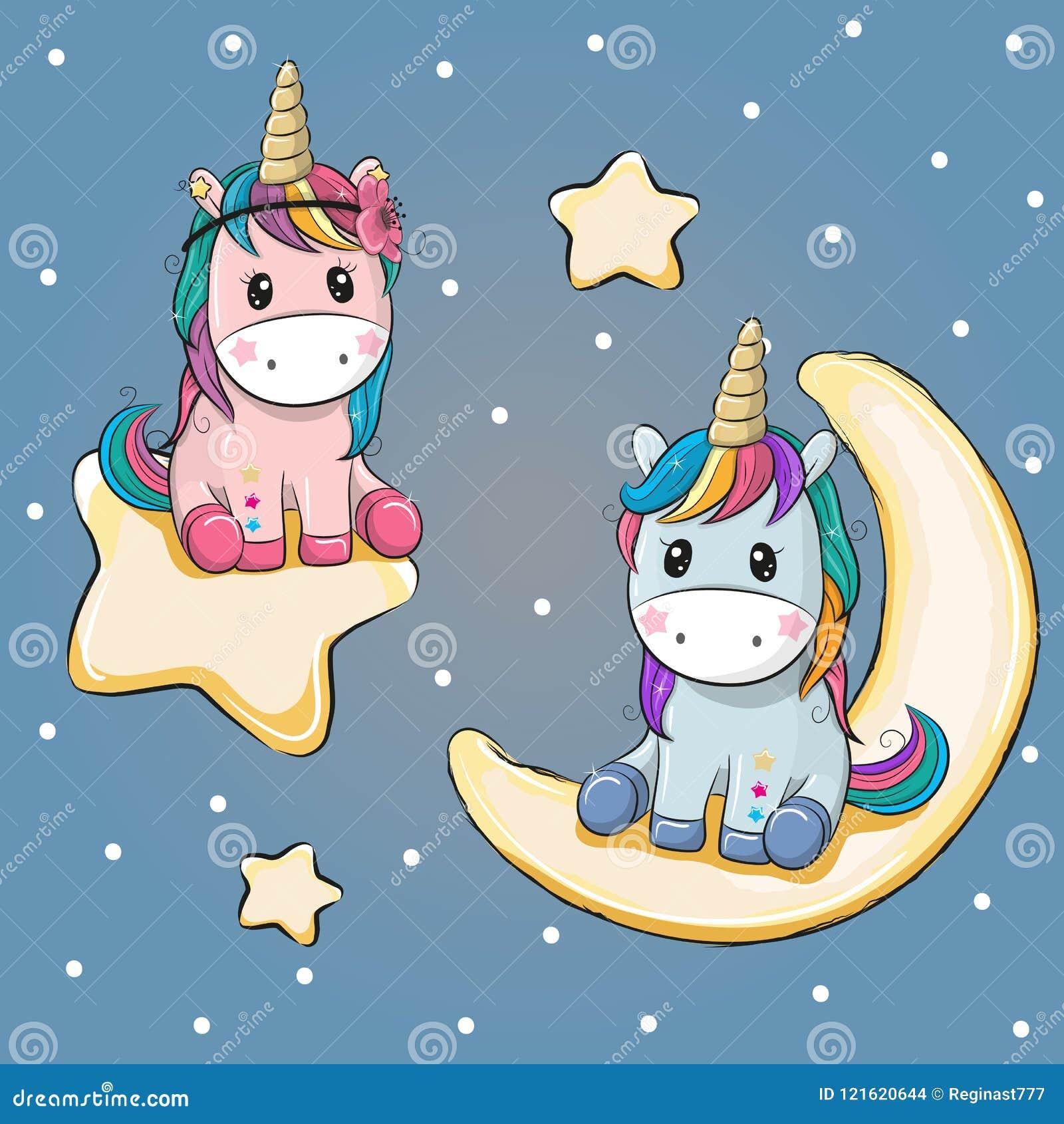 Κάρτα βαλεντίνων με δύο μονοκέρους σε ένα φεγγάρι και ένα αστέρι