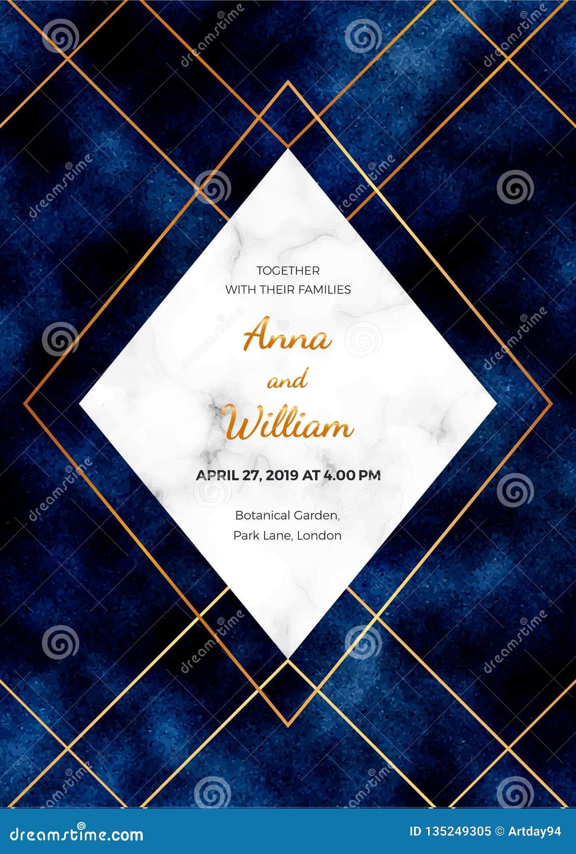 Κάρτα γαμήλιας πρόσκλησης με το μαρμάρινο πλαίσιο, χρυσές γραμμές στο σκούρο μπλε υπόβαθρο Το μαγικό πρότυπο σχεδίου νύχτας για π