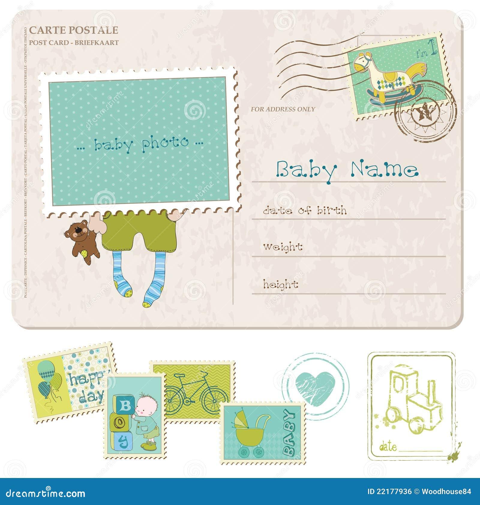 Κάρτα γενεθλίων αγορακιών με το σύνολο γραμματοσήμων