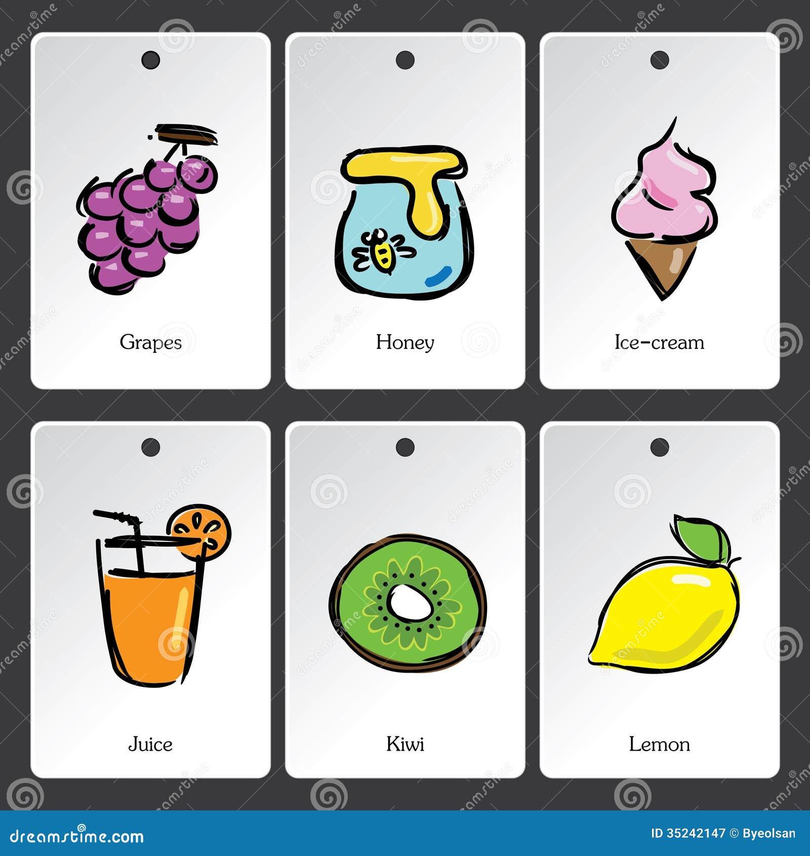 Κάρτα λεξιλογίου απεικόνισης τροφίμων