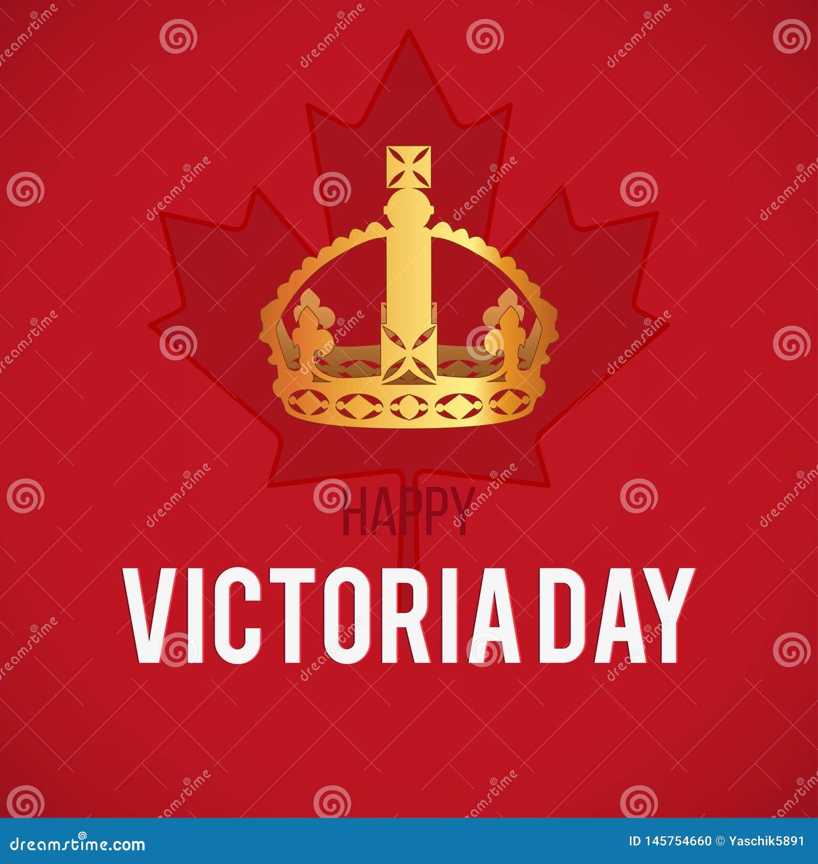 Κάρτα ημέρας Βικτώριας με τη σημαία του Καναδά και την κορώνα, διάνυσμα