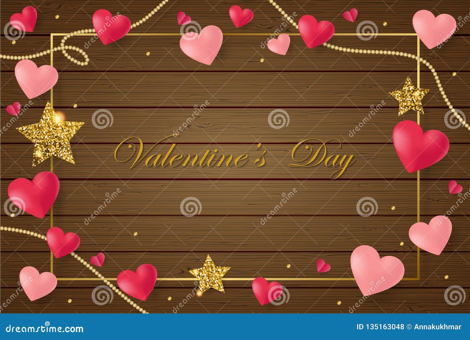 Κάρτα ημέρας του ευτυχούς βαλεντίνου Αγίου με τις ρόδινες καρδιές στο καφετί ξύλινο υπόβαθρο