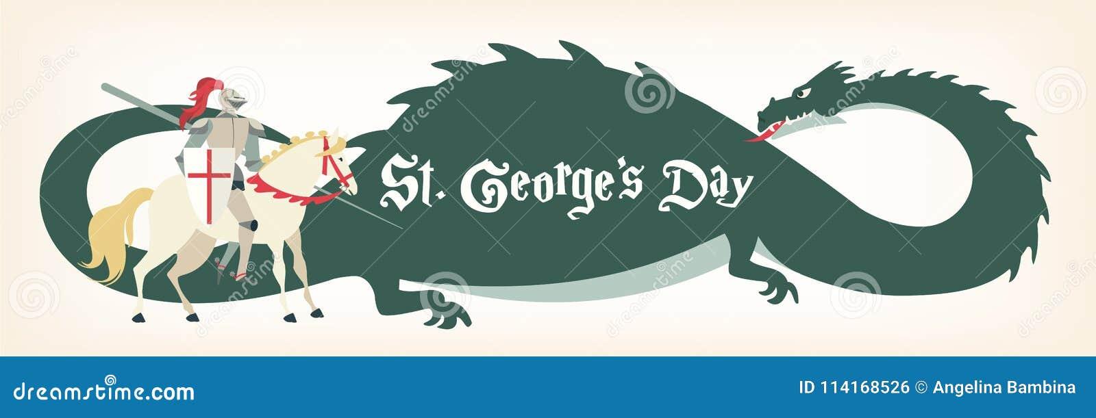 Κάρτα ημέρας του ST George s με τον ιππότη και το δράκο επίσης corel σύρετε το διάνυσμα απεικόνισης