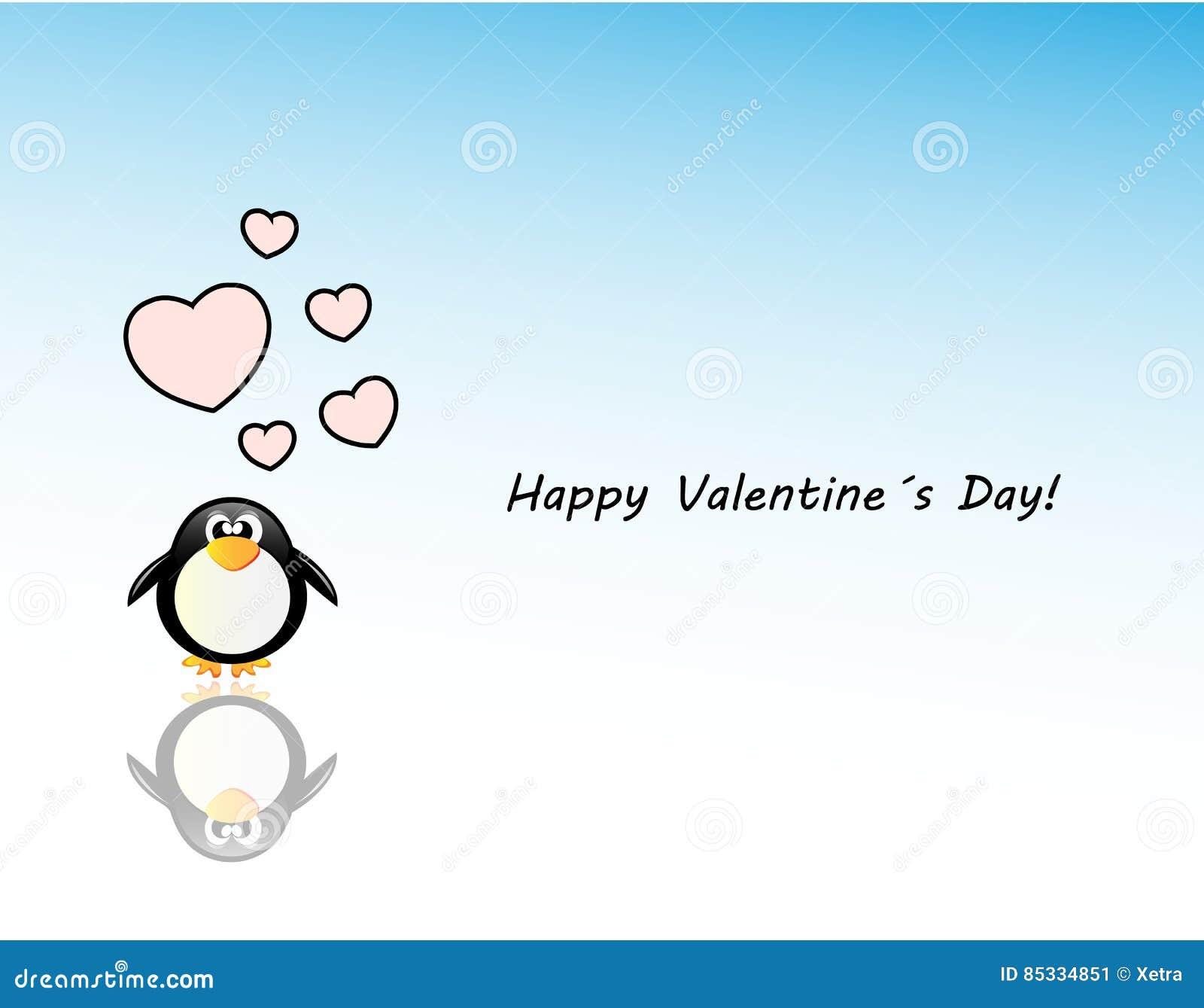 Κάρτα ημέρας των διανυσματικών valentineμε το penguin