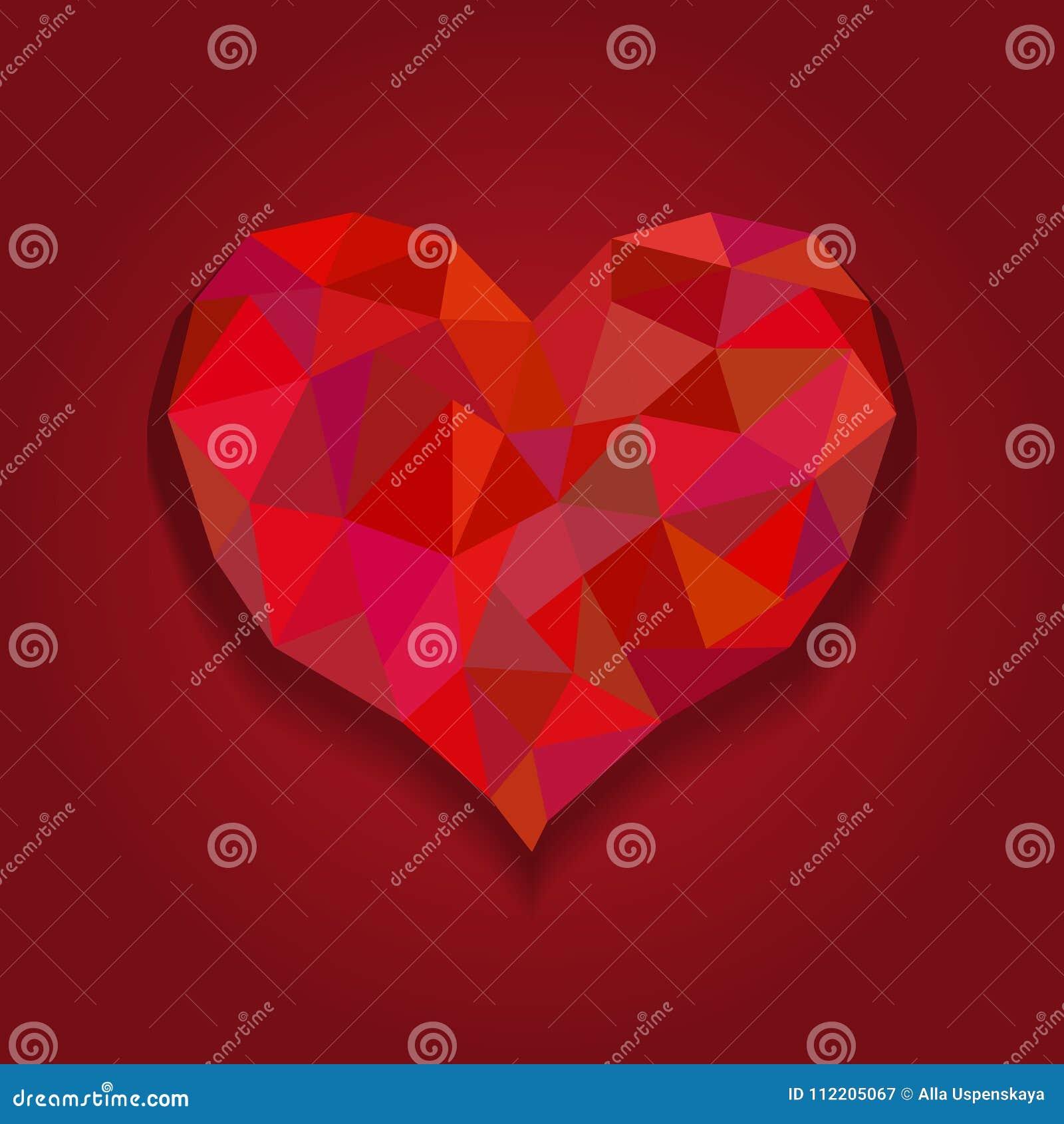 Κάρτα καρδιών βαλεντίνων, καρδιά origami στο ύφος διαμαντιών Κόκκινη polygonal περίληψη καρδιών στα κόκκινα υπόβαθρα