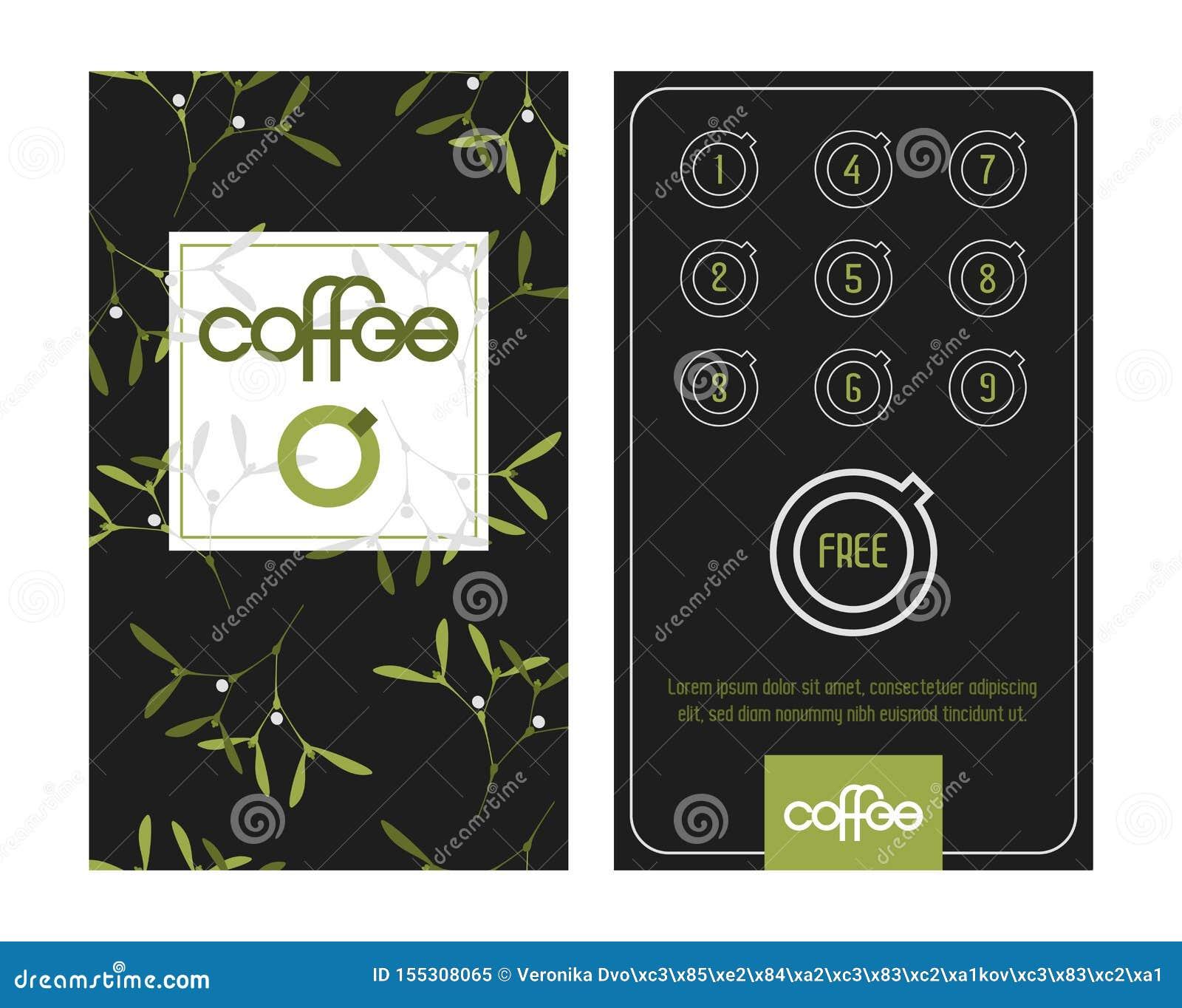 Κάρτα καφέ πίστης Πρότυπο στη διάθεση Χριστουγέννων με τα γκι