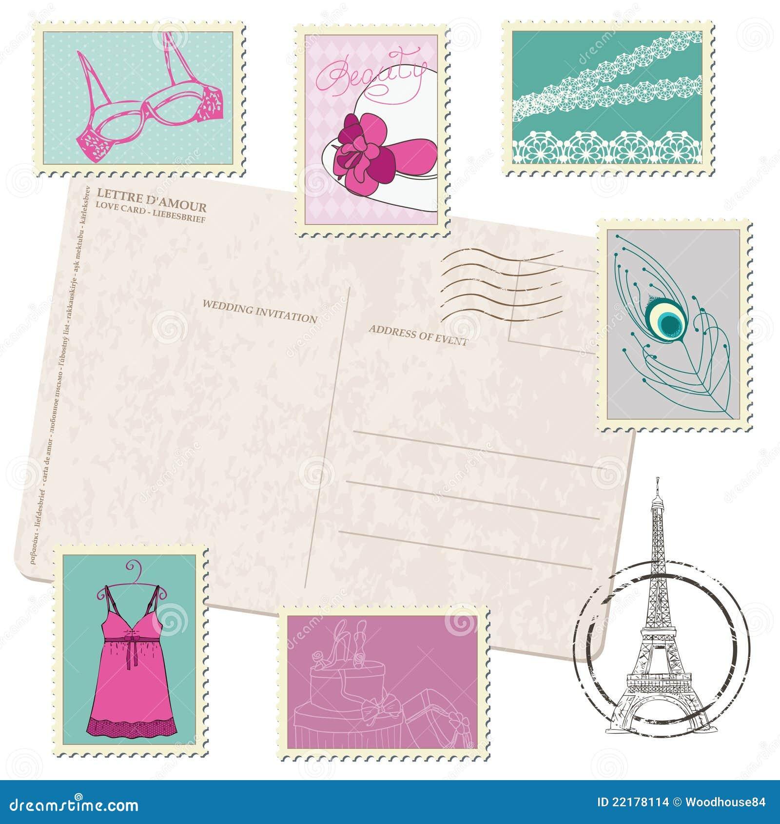 Κάρτα με το σύνολο γραμματοσήμων μόδας