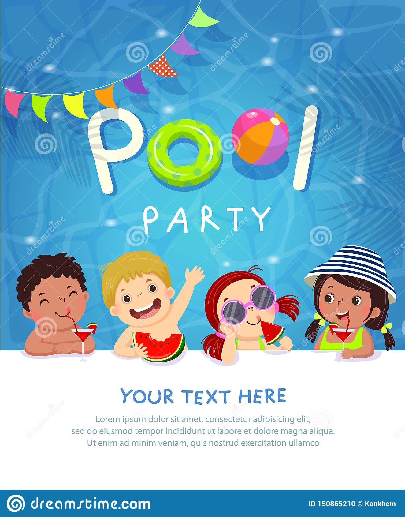 Κάρτα προτύπων πρόσκλησης κομμάτων λιμνών με τα παιδιά που απολαμβάνουν στην πισίνα
