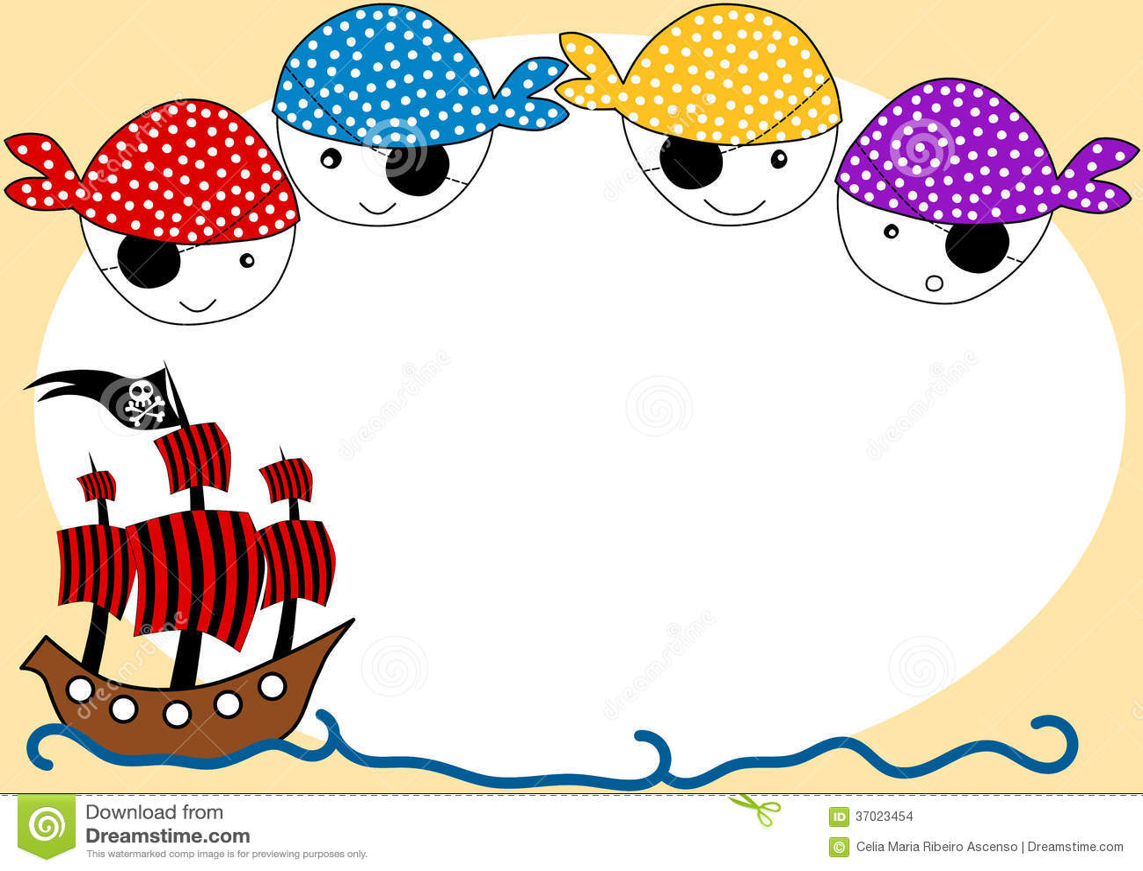 Κάρτα πρόσκλησης πειρατών και κόμματος σκαφών