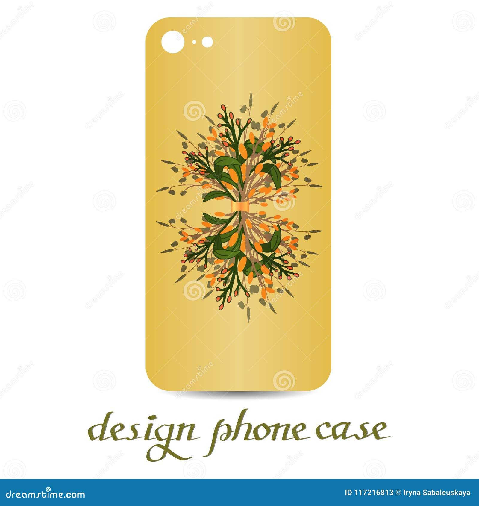 Κάρτα πώλησης, βοτανική διανυσματική φυσική τηλεφωνική περίπτωση elementsDesign Οι τηλεφωνικές περιπτώσεις είναι floral που διακο