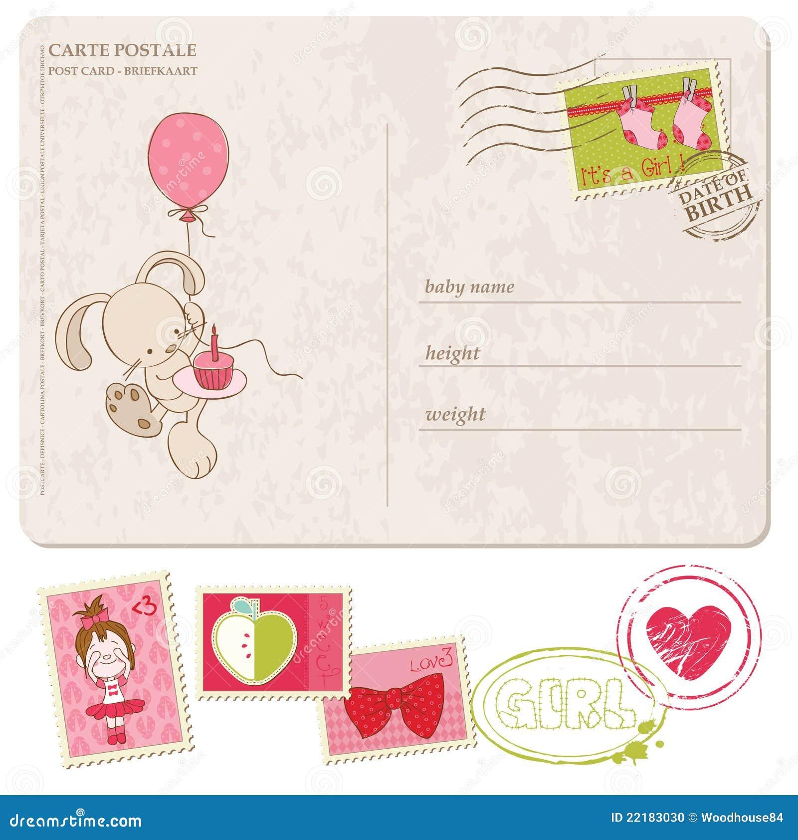 Κάρτα χαιρετισμού κοριτσακιών με το σύνολο γραμματοσήμων