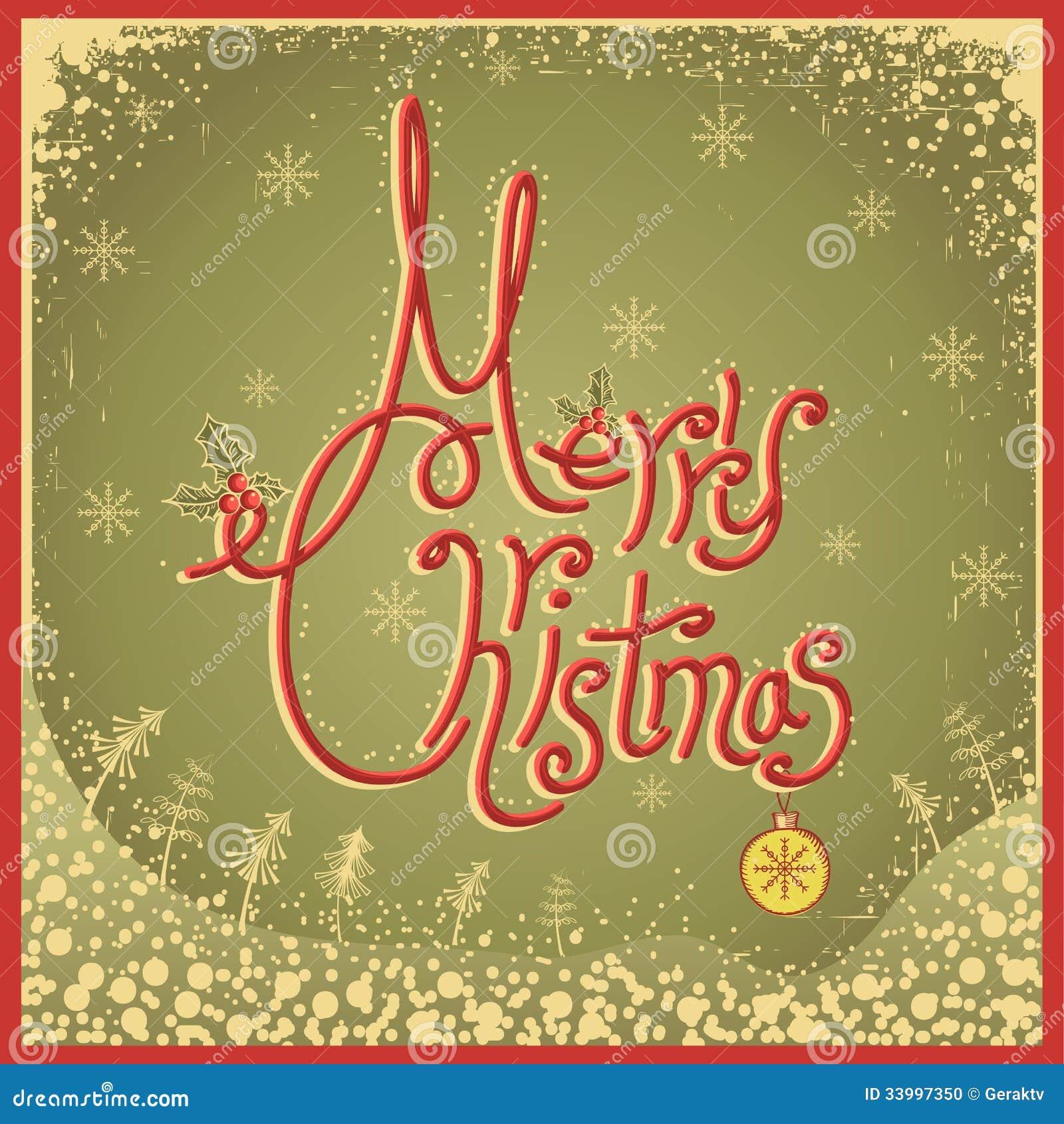 Κάρτα Χαρούμενα Χριστούγεννας με το κείμενο. Εκλεκτής ποιότητας διανυσματικό illu