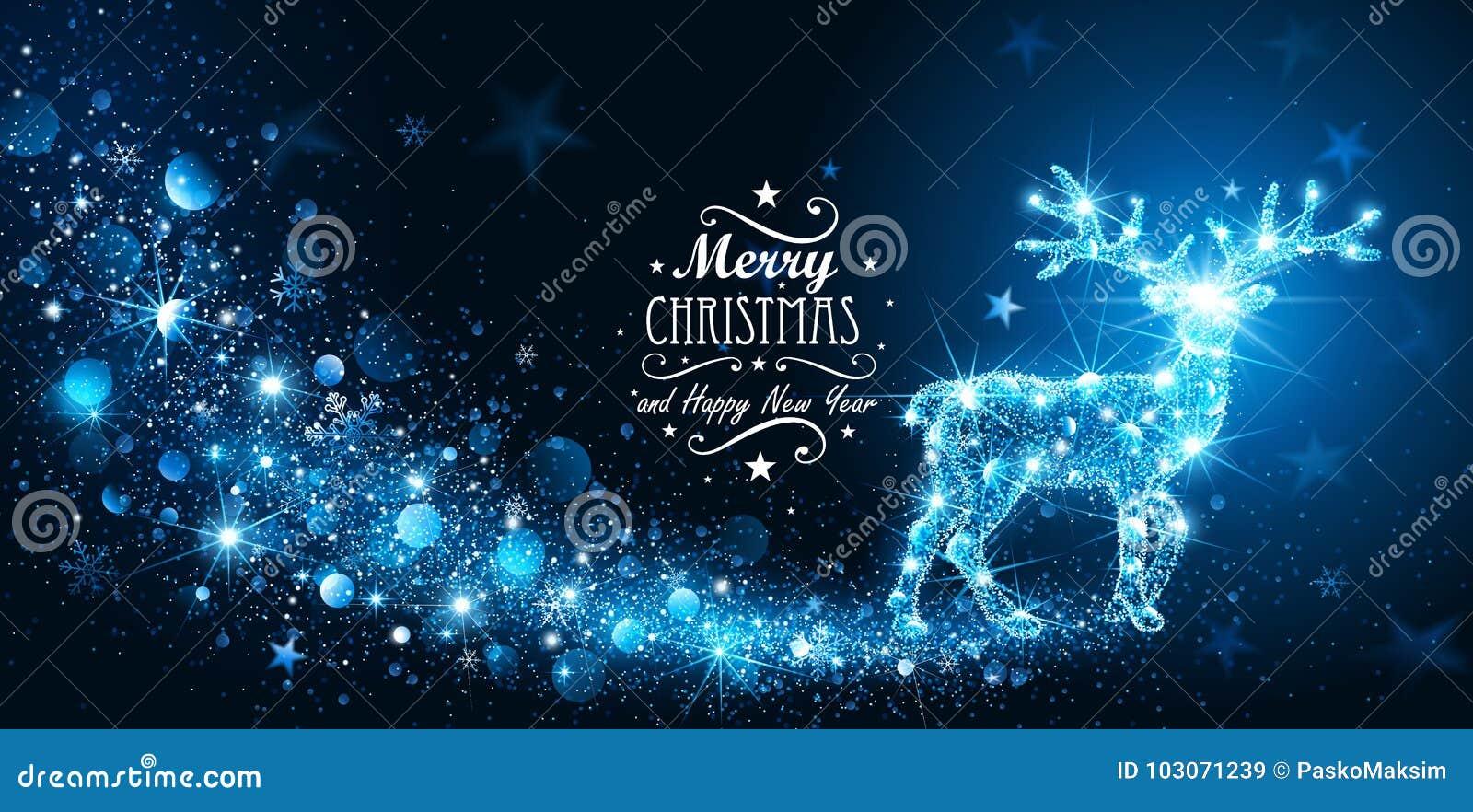 Κάρτα Χριστουγέννων με τα μαγικά ελάφια σκιαγραφιών