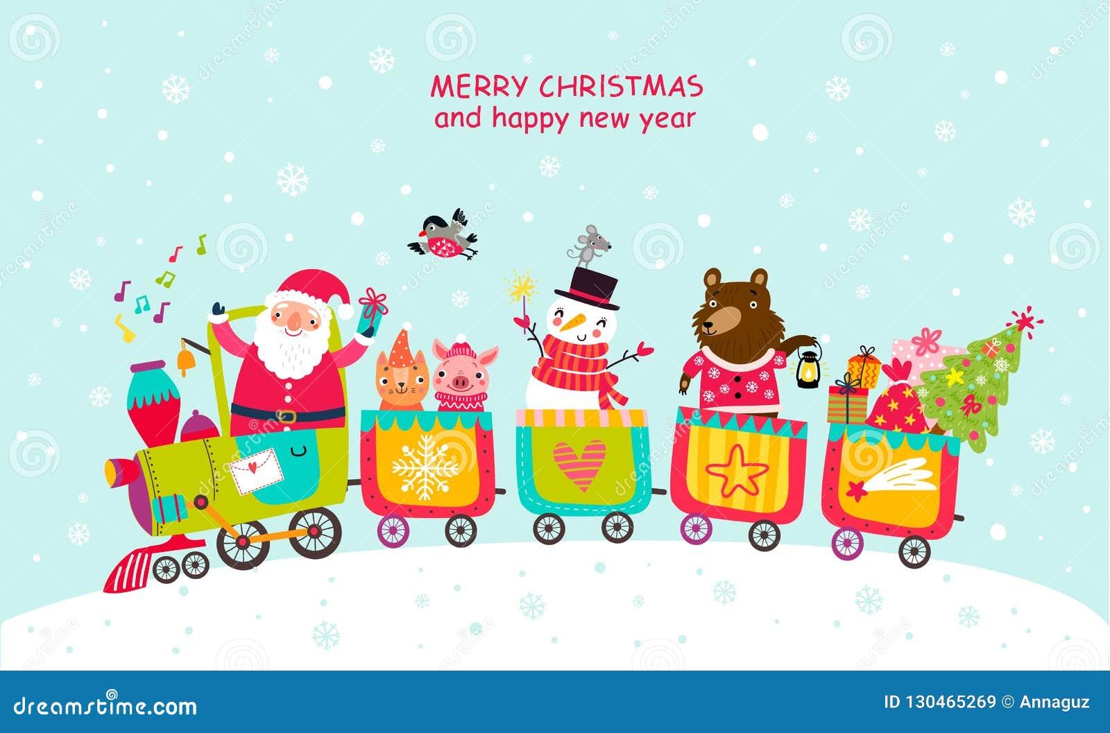 Κάρτα Χριστουγέννων με Santa και ζώα στο τραίνο χαρακτήρες χαριτωμένοι