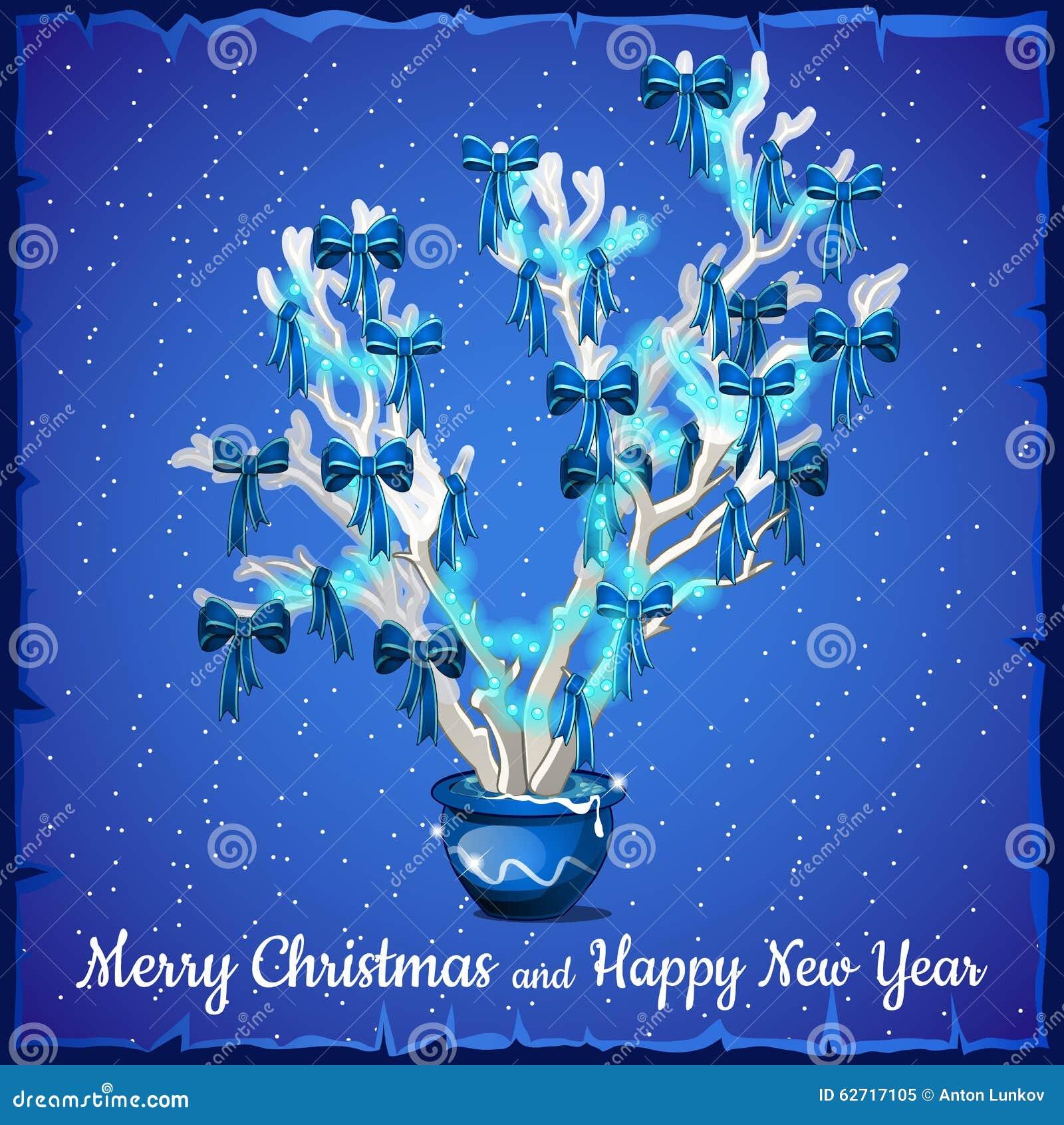 Κάρτα Χριστουγέννων που διακοσμείται με το ασημένιο δέντρο