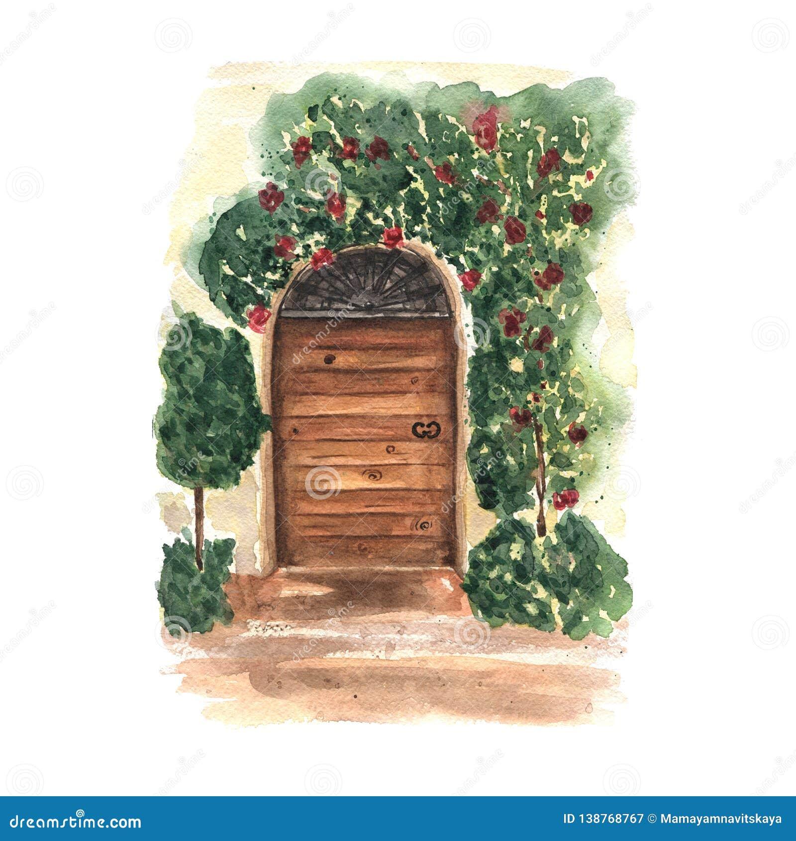 Κάρτα Watercolor με τη διακοσμητική floral παλαιά ξύλινη πόρτα Σχέδιο της Προβηγκίας Ρομαντική θέση της Ιταλίας