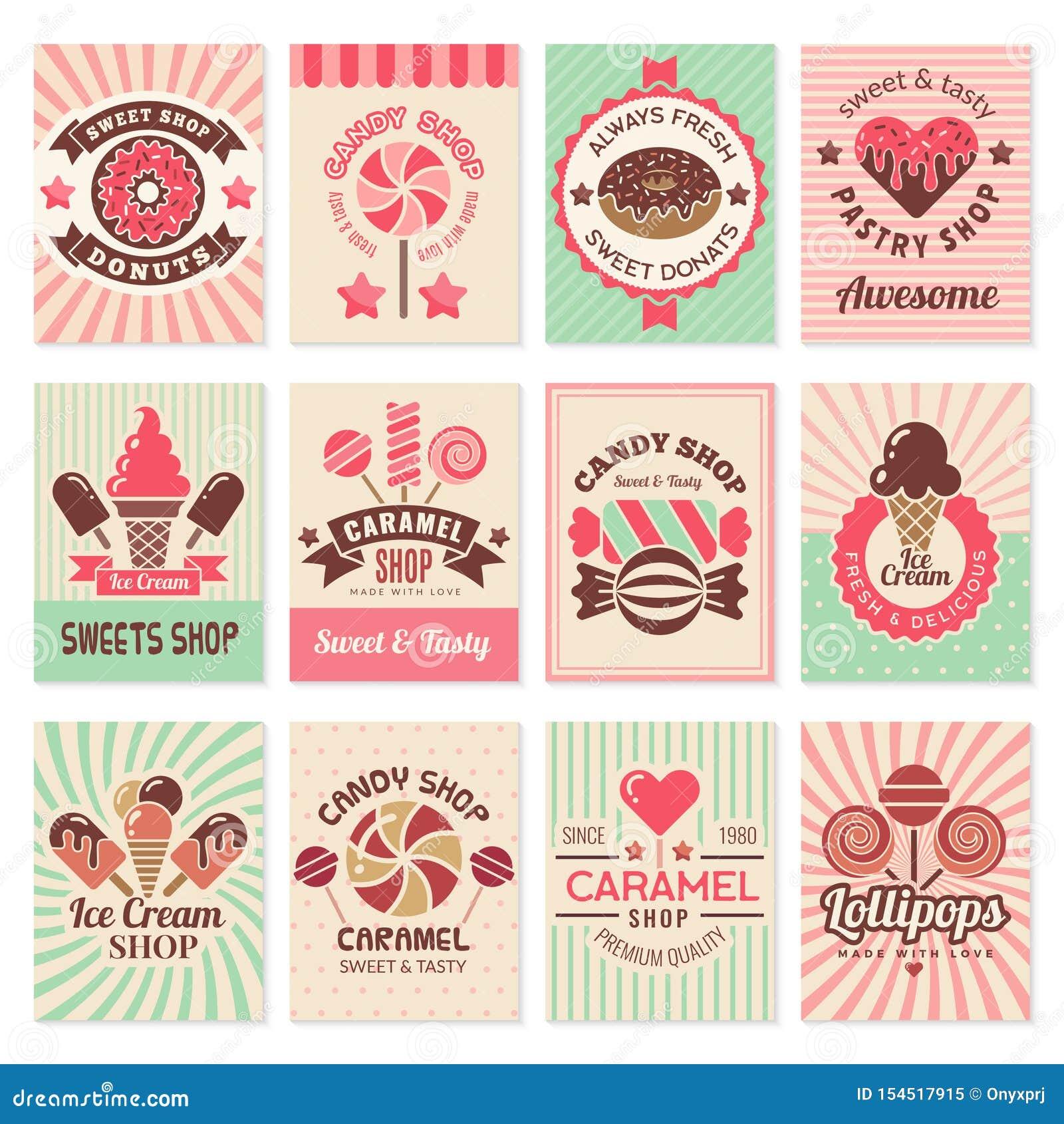 Κάρτες καταστημάτων καραμελών Γλυκά σύμβολα βιομηχανιών ζαχαρωδών προϊόντων επιδορπίων τροφίμων για τη διανυσματική συλλογή ιπτάμ